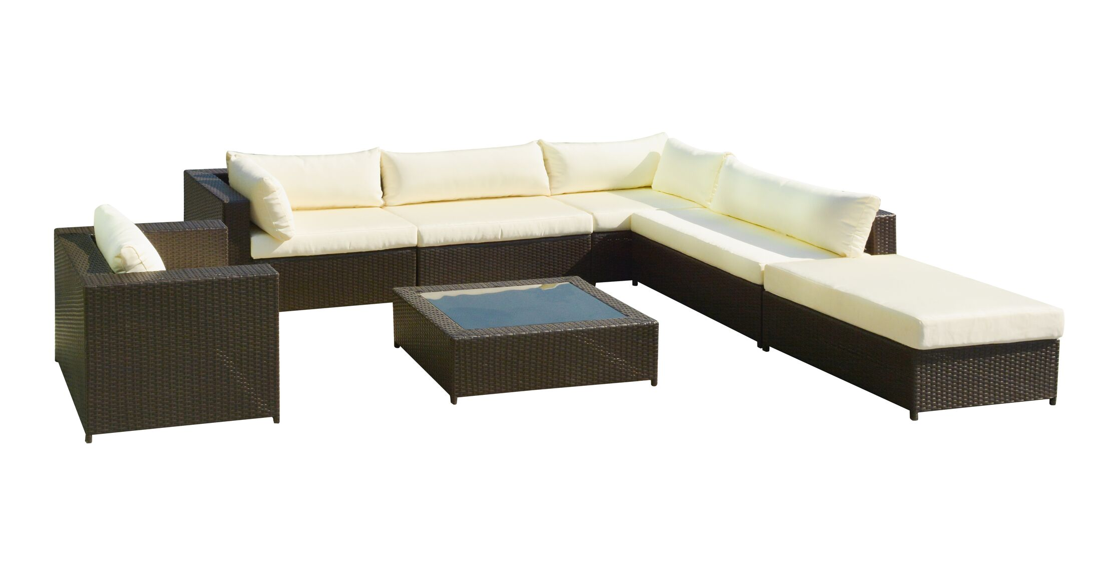 Gracey Rattan Sectional Sofa Set with Cushions