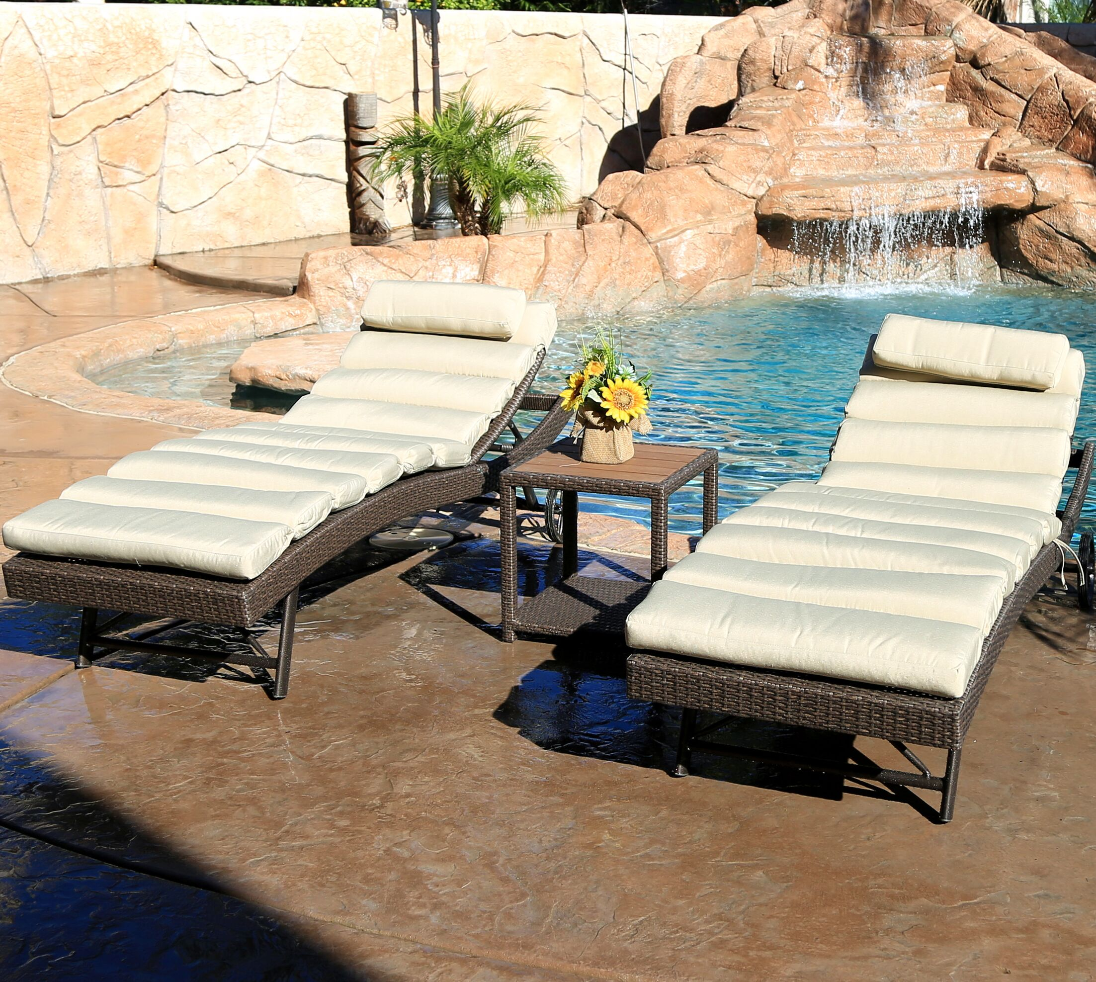 Tampa 3 Piece Chaise Lounge Set with Cushion