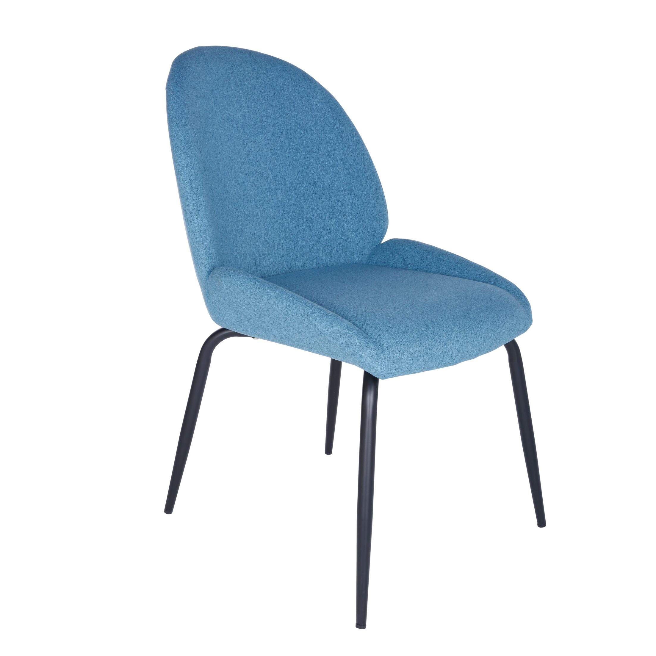 Oday Upholstered Dining Chair with Steel Leg Upholstery Color: Blue