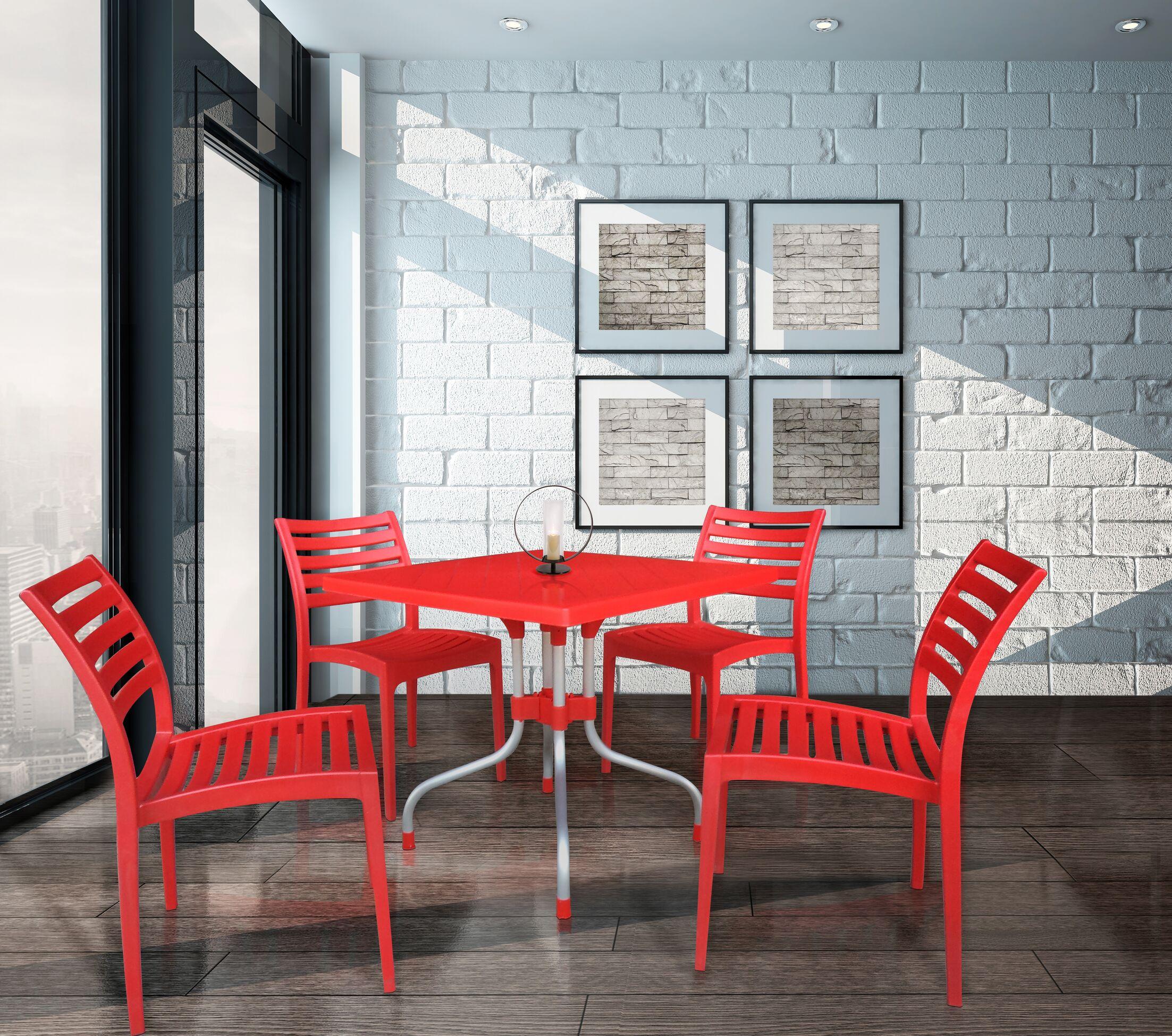 Davian Plastic Bistro Table Color: Red