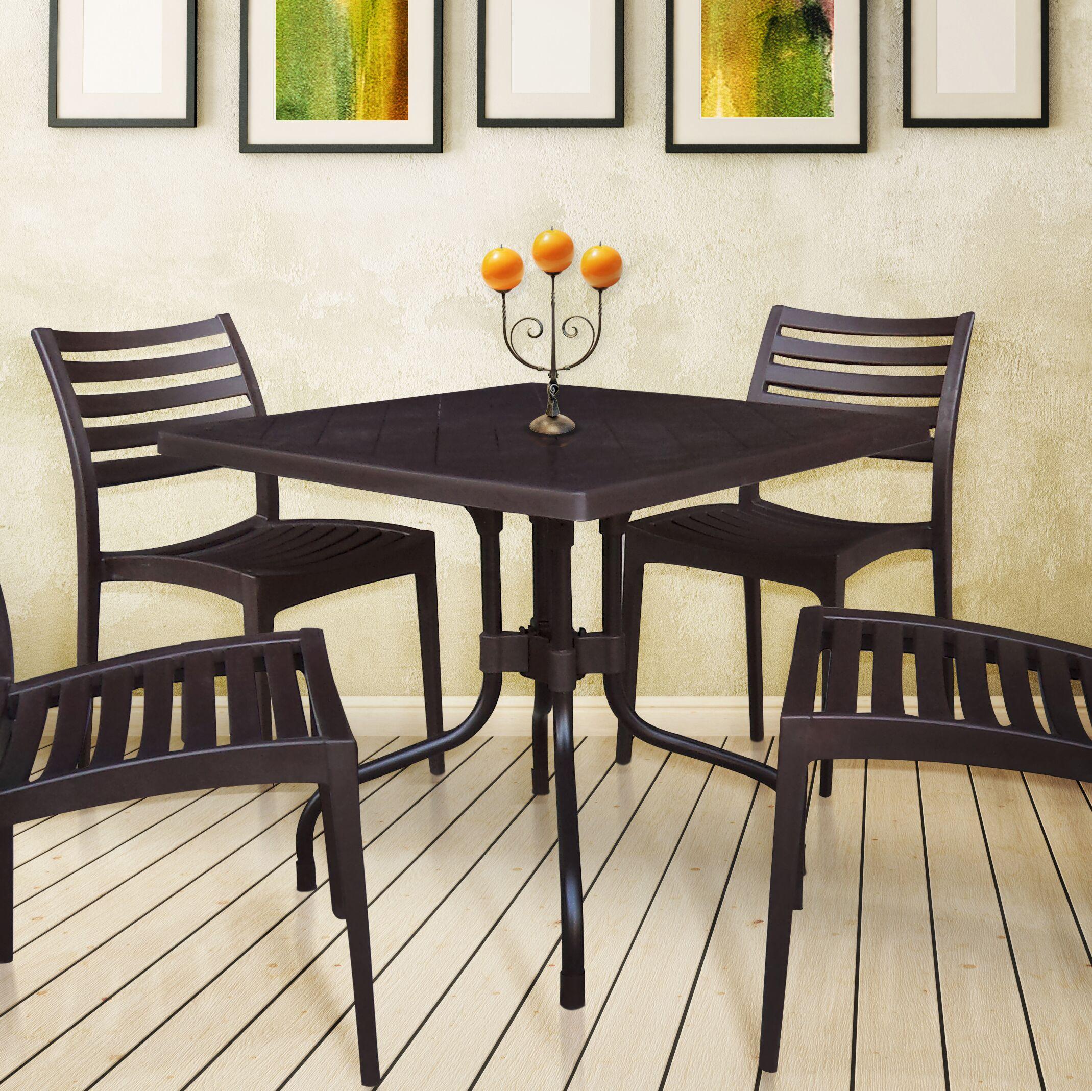 Escarcega Square Plastic Bistro Table Color: Brown