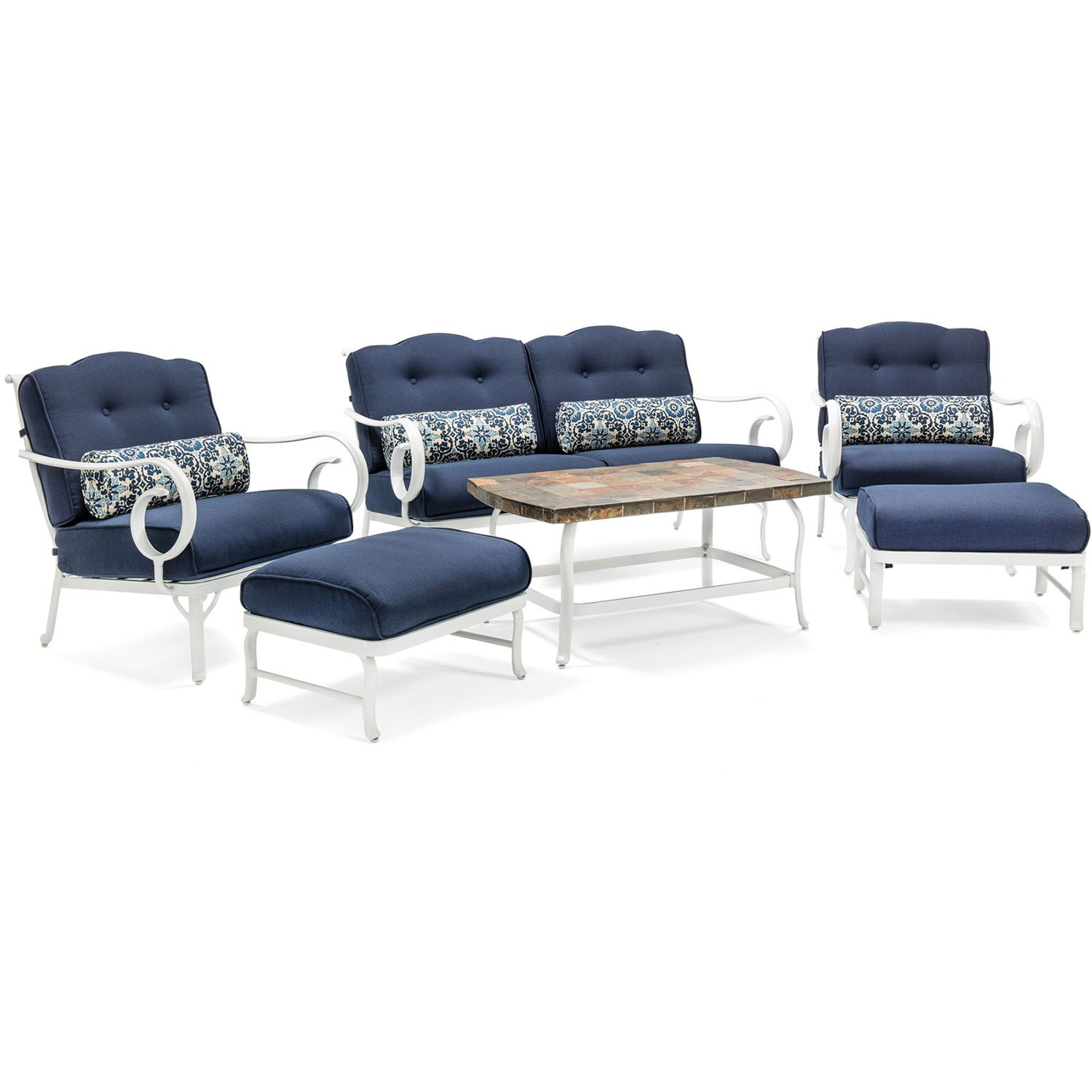 Galante 10 Piece Sofa Set with Cushions Fabric: Navy