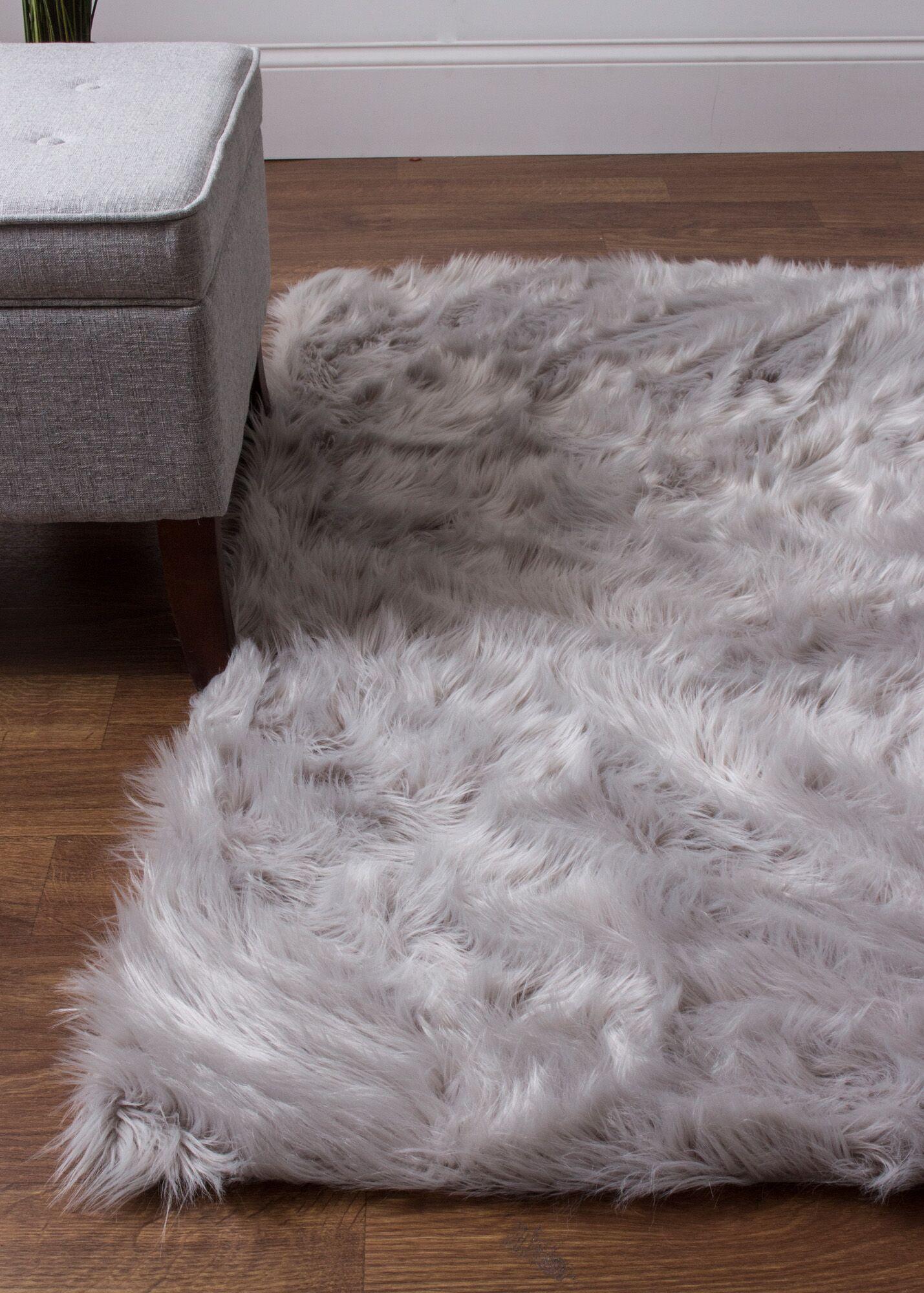 Charlotte Hand-Woven Faux Sheepskin Gray Area Rug Rug Size: 5' x 7'
