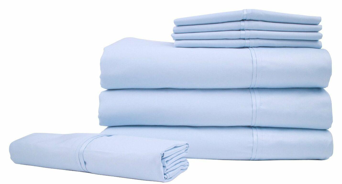 Bed Sheet Set Color: Cool Blue, Size: King