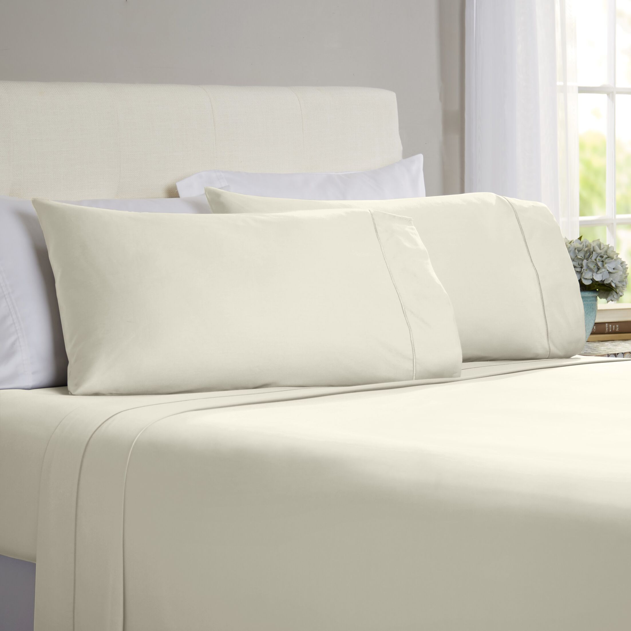 Jamel 4 Piece 820 Thread Count Egyptian Quality Cotton Sheet Set Color: Ivory, Size: King