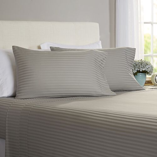 Milne 800 Thread Count 100% Cotton Sheet Set Size: California King, Color: Pewter