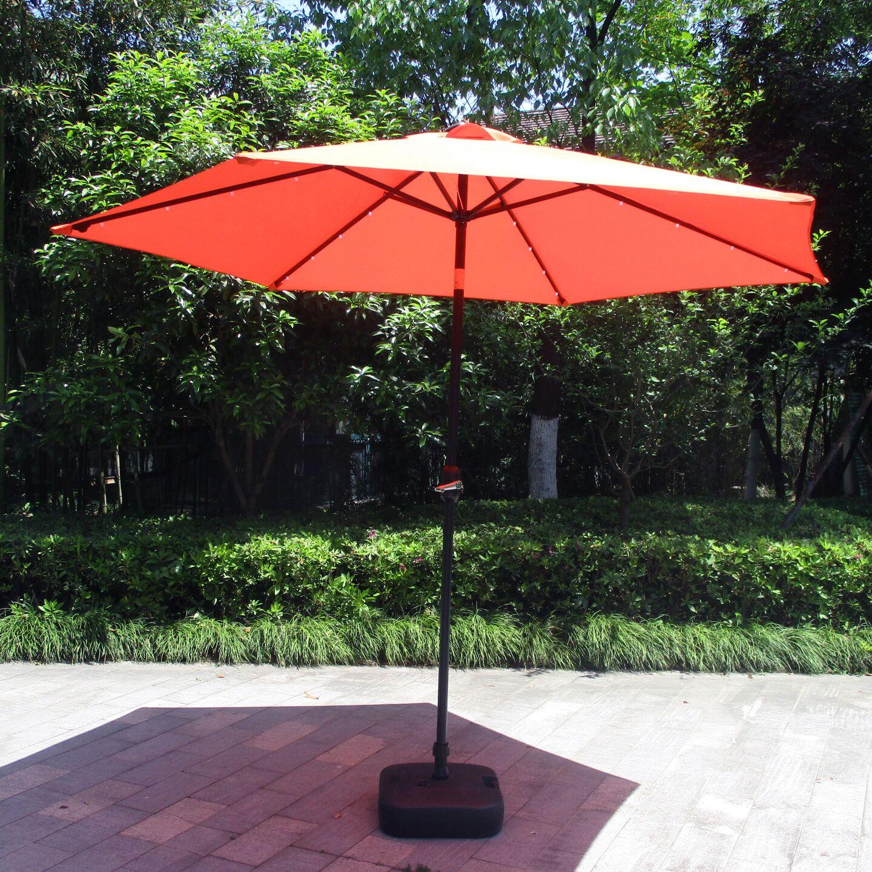 Charlize Illuminated 10' Lighted Umbrella Fabric Color: Orange