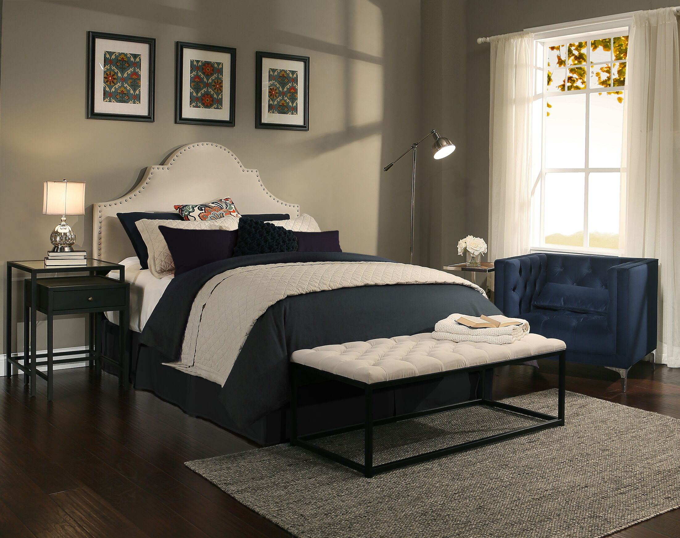 Stepanie Upholstered Panel Headboard and Bench Size: Eastern King/California King