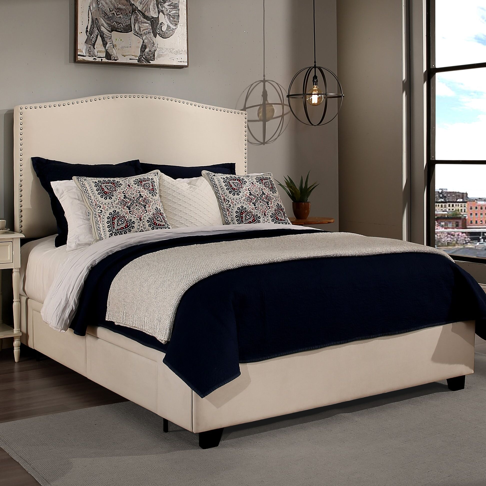 Almodovar Upholstered Storage Platform Bed Size: Eastern King, Color: Ivory