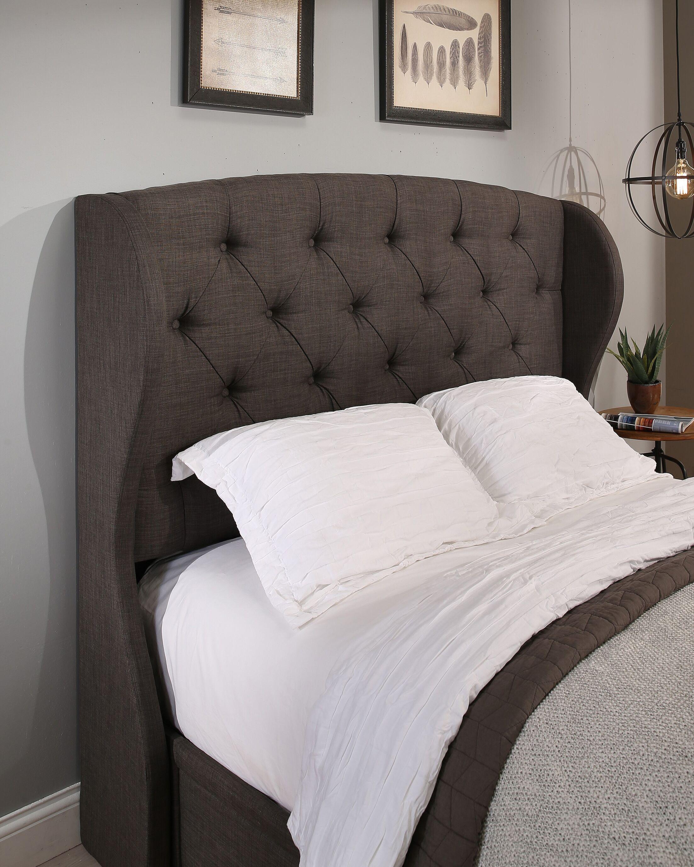 Sornson Upholstered Wingback Headboard Size: King/California King, Color: Biege