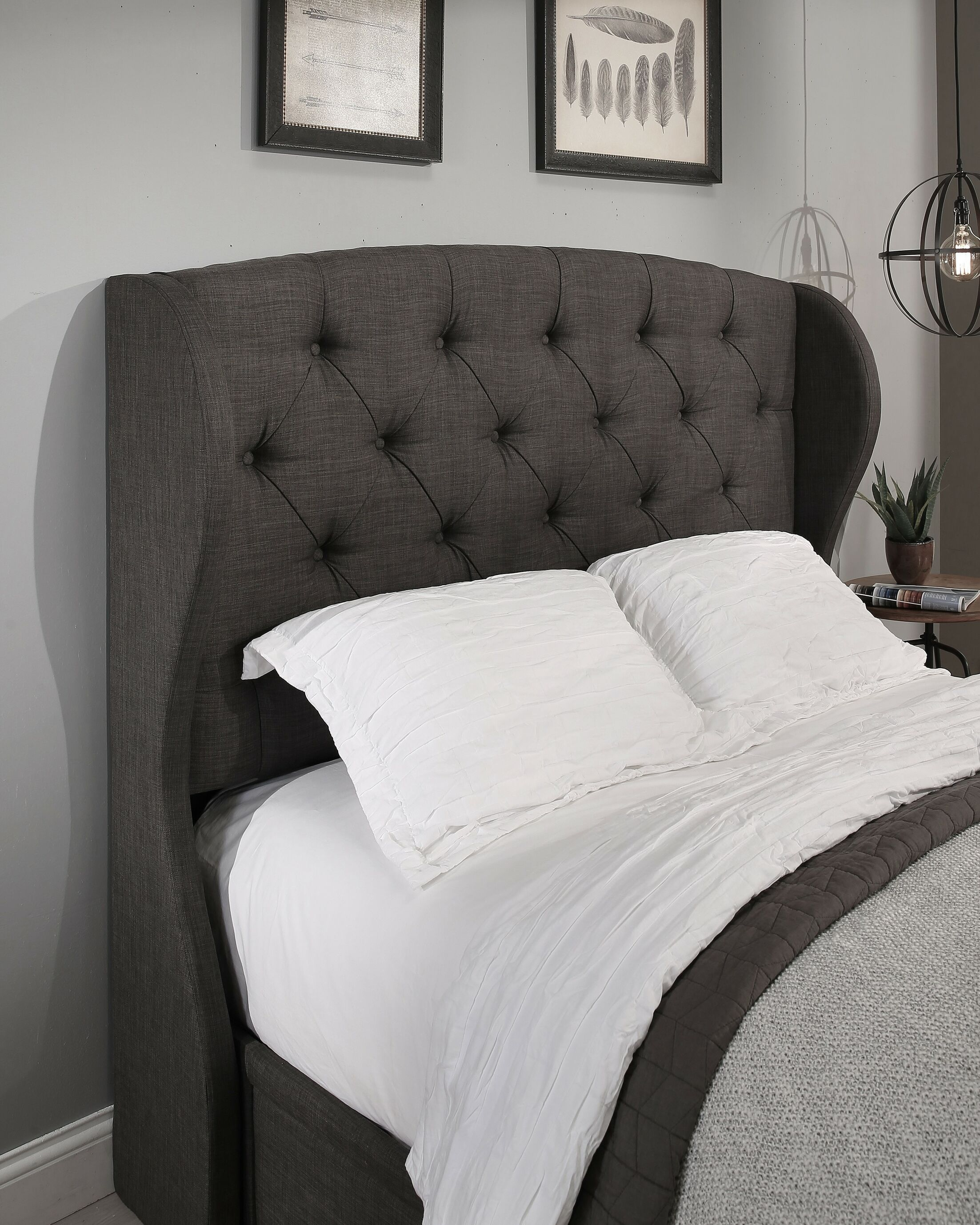 Sornson Upholstered Wingback Headboard Size: Easten King/California King, Upholstery: Grey