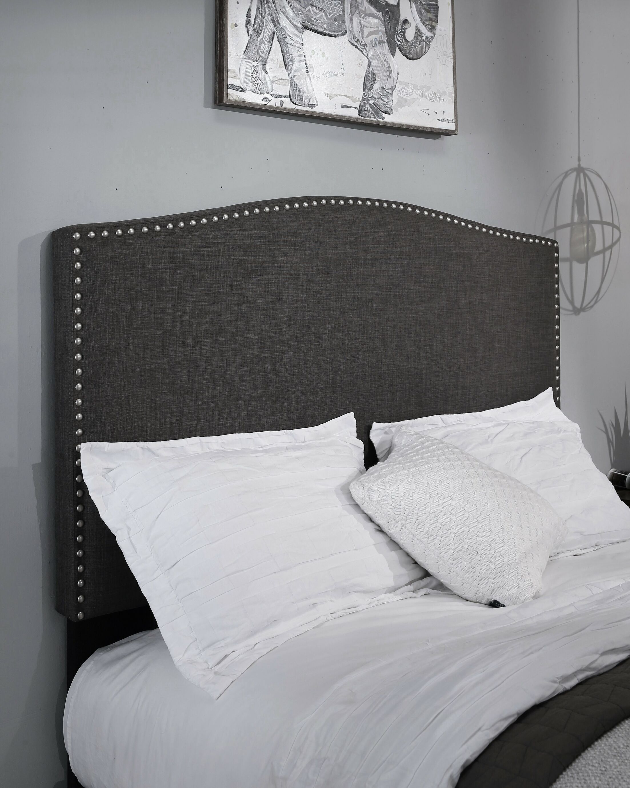 Altamirano Upholstered Panel Headboard Size: Full/Queen, Color: Charcoal