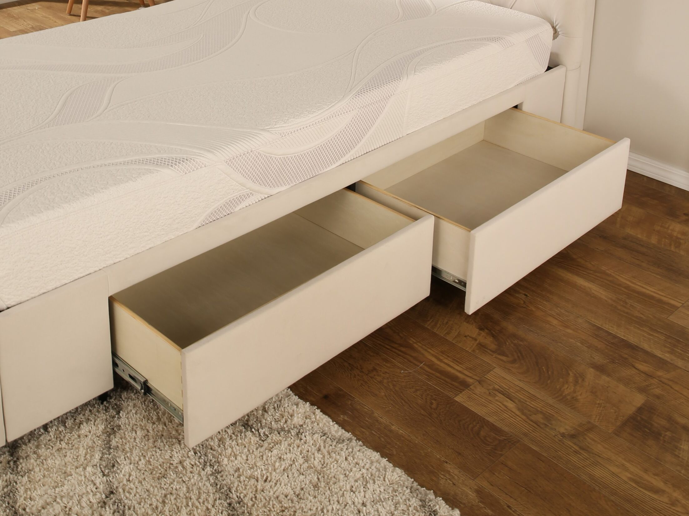 Ariane Twin Upholstered Storage Panel Bed Color: Ivory, Drawer Storage: None