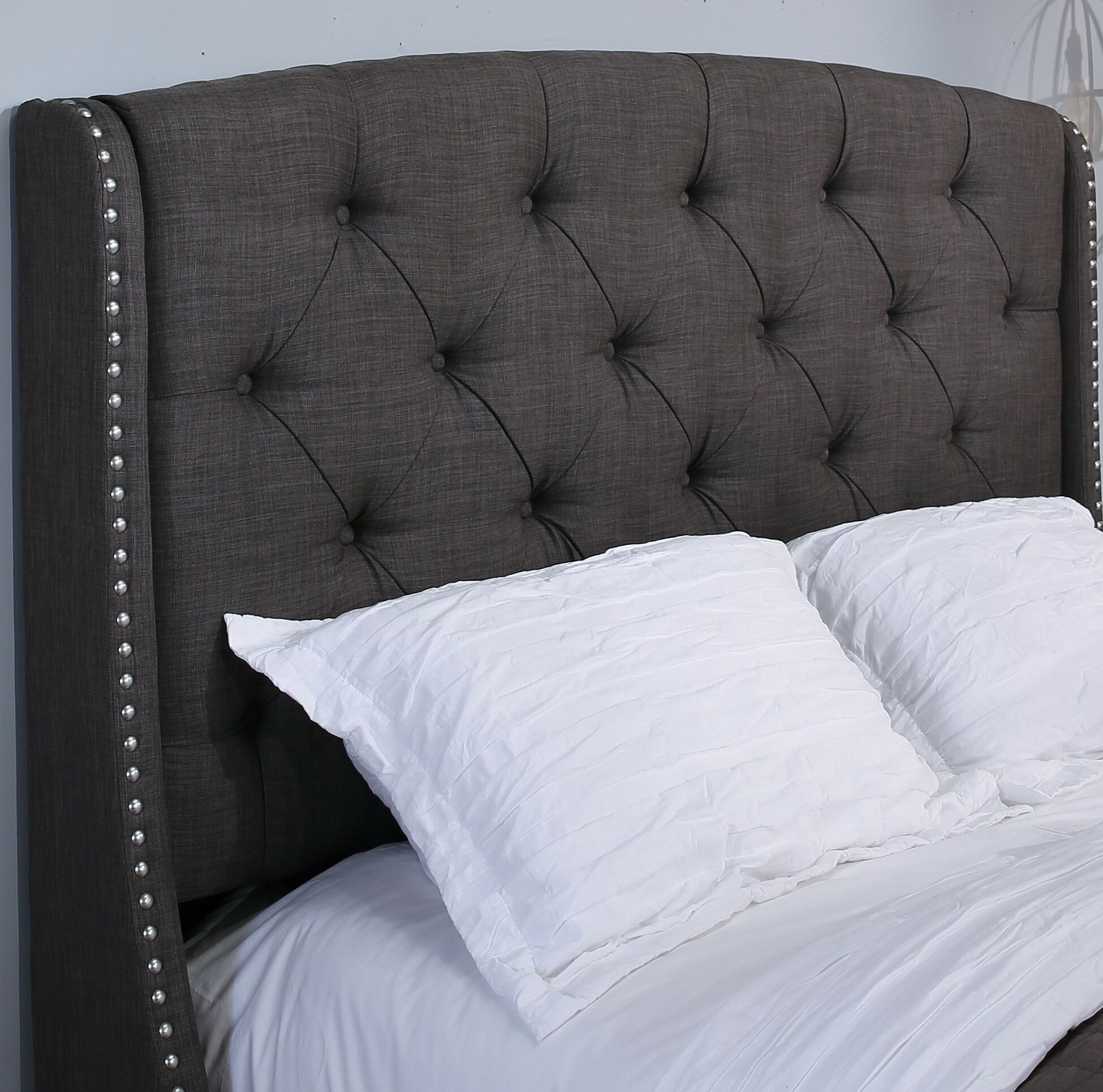 Chenery Upholstered Wingback Headboard Size: Queen/Full, Upholstery: Gray