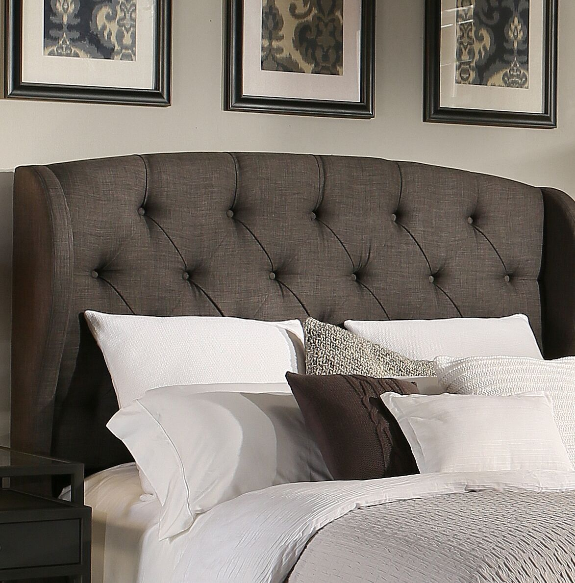 Sornson Upholstered Wingback Headboard Size: Eastern King/California King, Upholstery: Grey