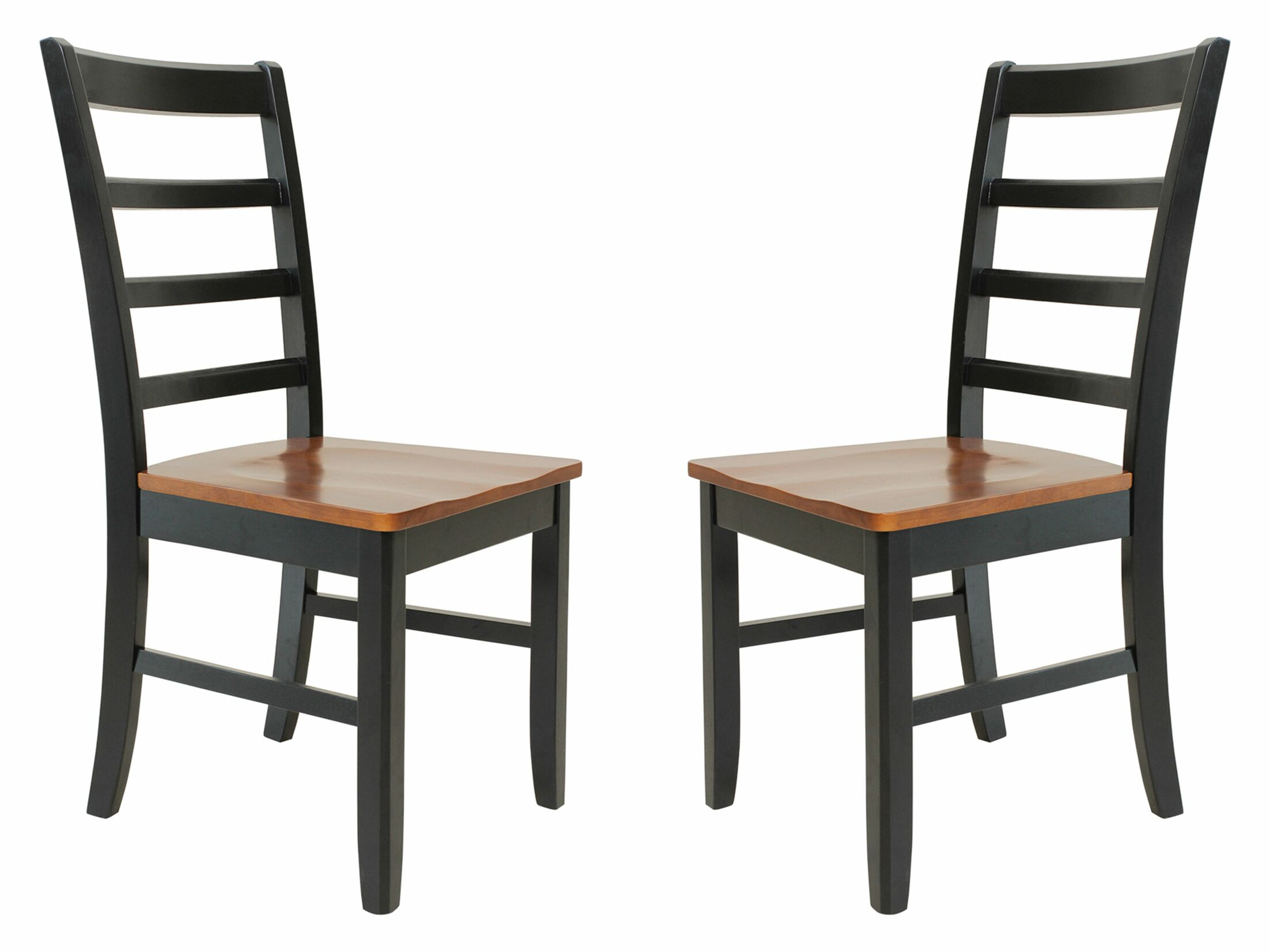 Two Sturdy Solid Wood Dining Chair Finish: Black / Saddle Brown