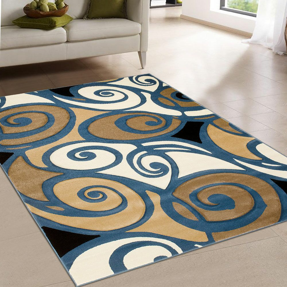 Evolution Swirl Blue/Brown Area Rug Rug Size: Rectangle 5'2