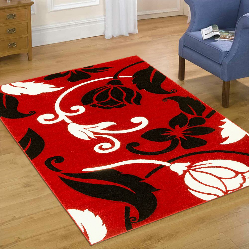 Red Area Rug Rug Size: Rectangle 3'9