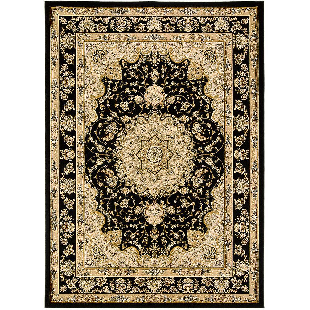 Handmade Black/Brown Area Rug Rug Size: 5'3