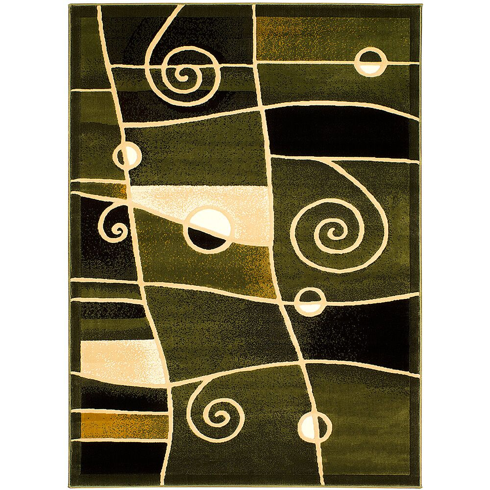 Green Area Rug Rug Size: 5'2