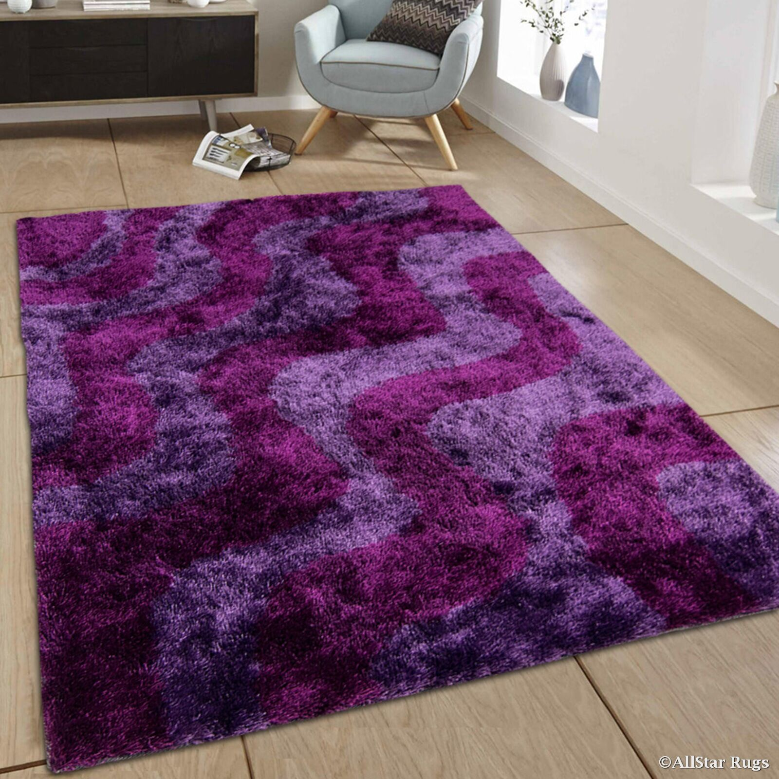Hand-Tufted Purple Area Rug Rug Size: 4'11
