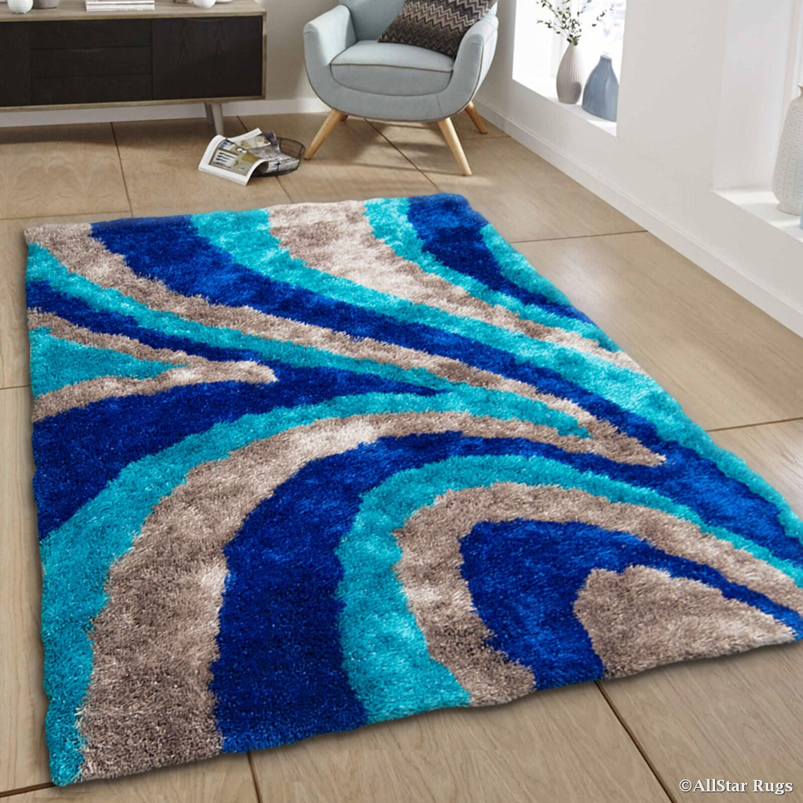 Hand-Tufted Blue/Brown Area Rug Rug Size: 7'11