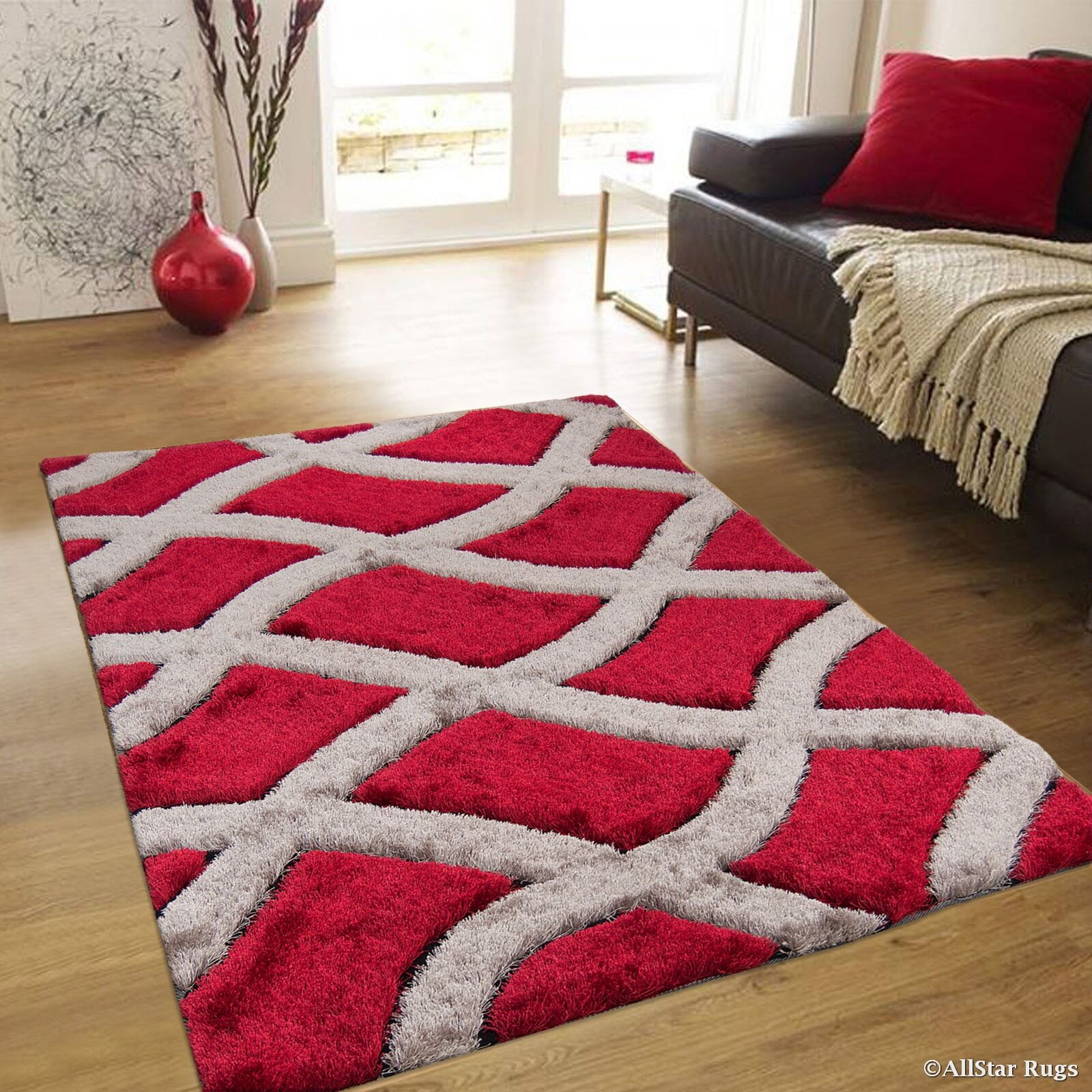 Hand-Tufted Red/Brown Area Rug Rug Size: 4'11