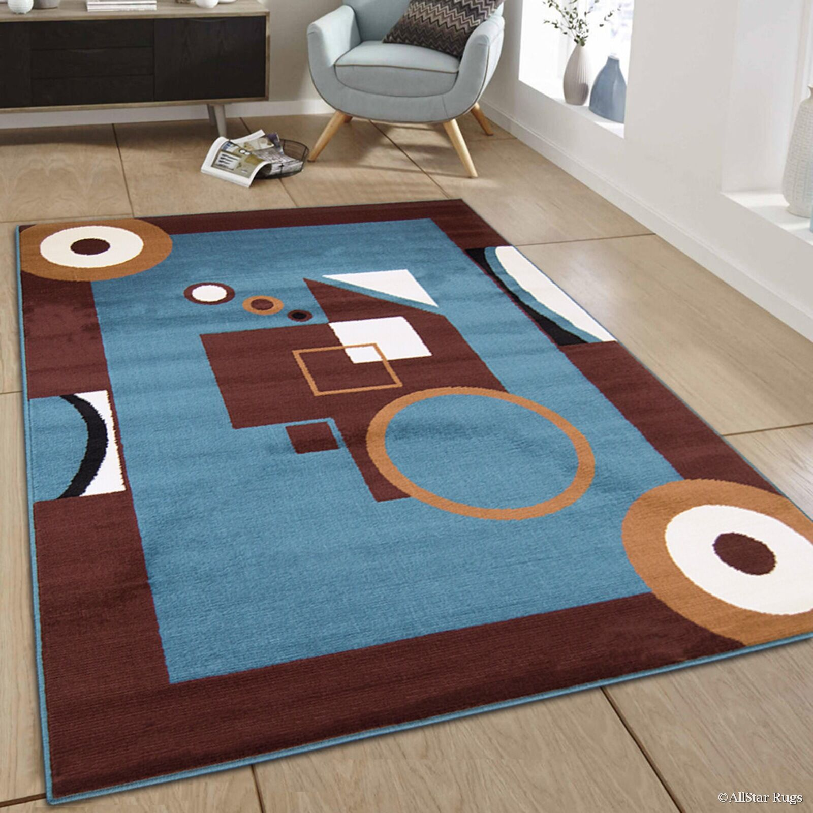 Hand-Woven Blue/Brown Area Rug Rug Size: 7'7