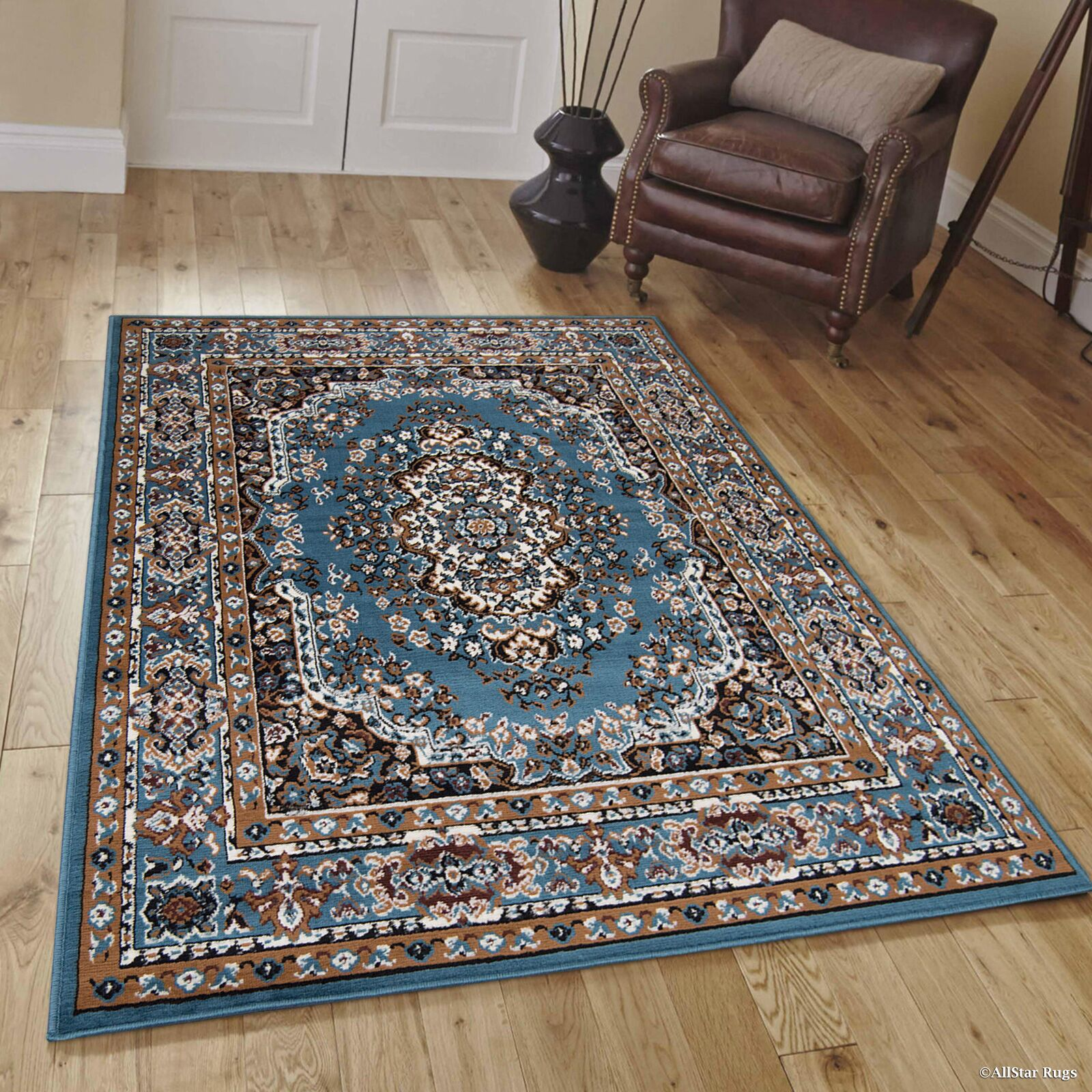 Hand-Woven Blue Area Rug Rug Size: 7'7