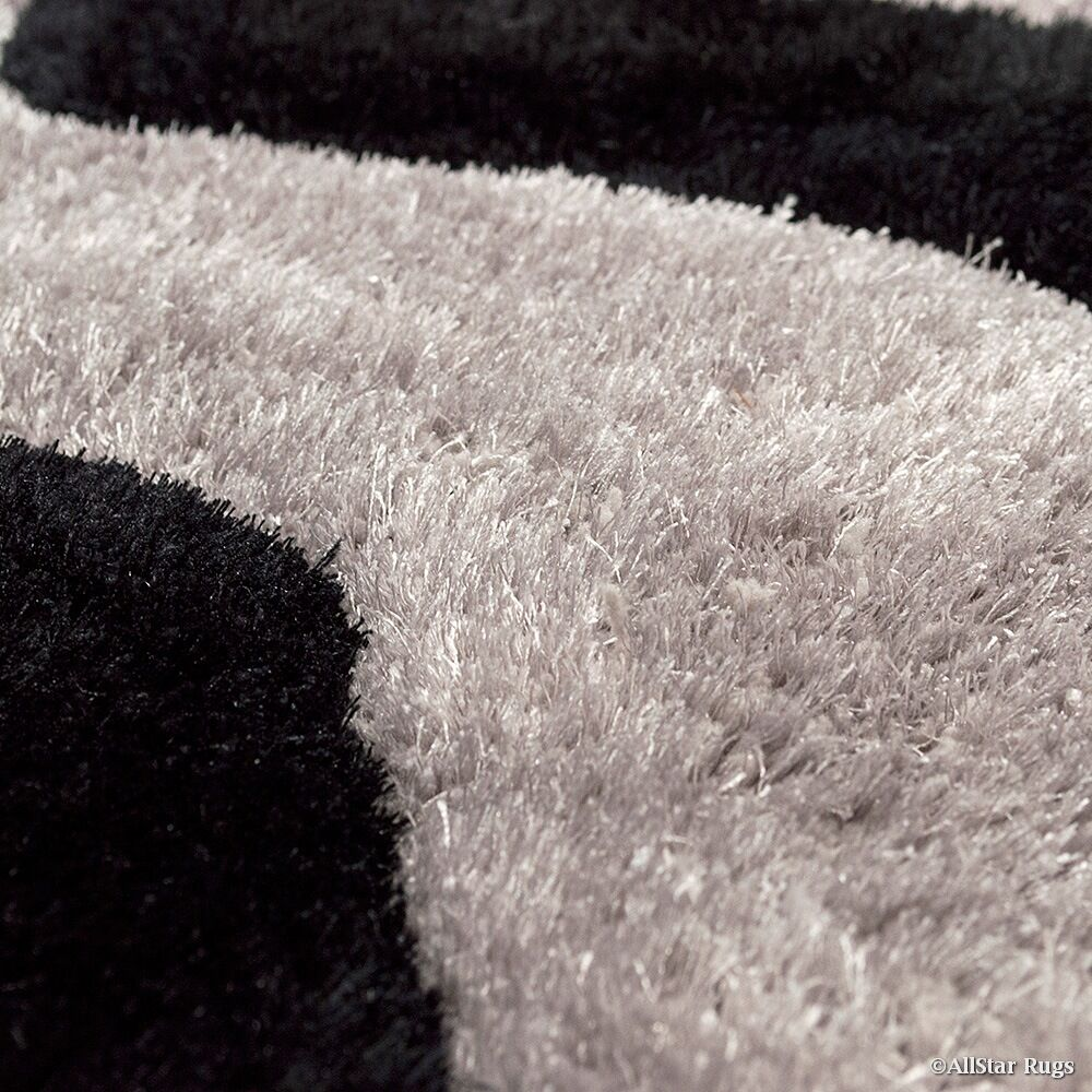 Hand-Tufted Black/Gray Area Rug Rug Size: Rectangle 7'6
