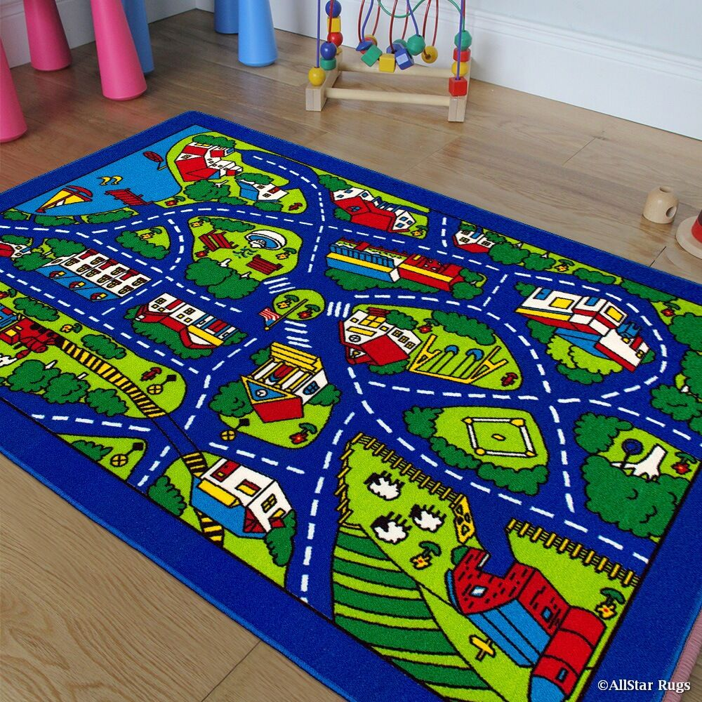 Street Map Blue/Green Area Rug Rug Size: Rectangle 4'11