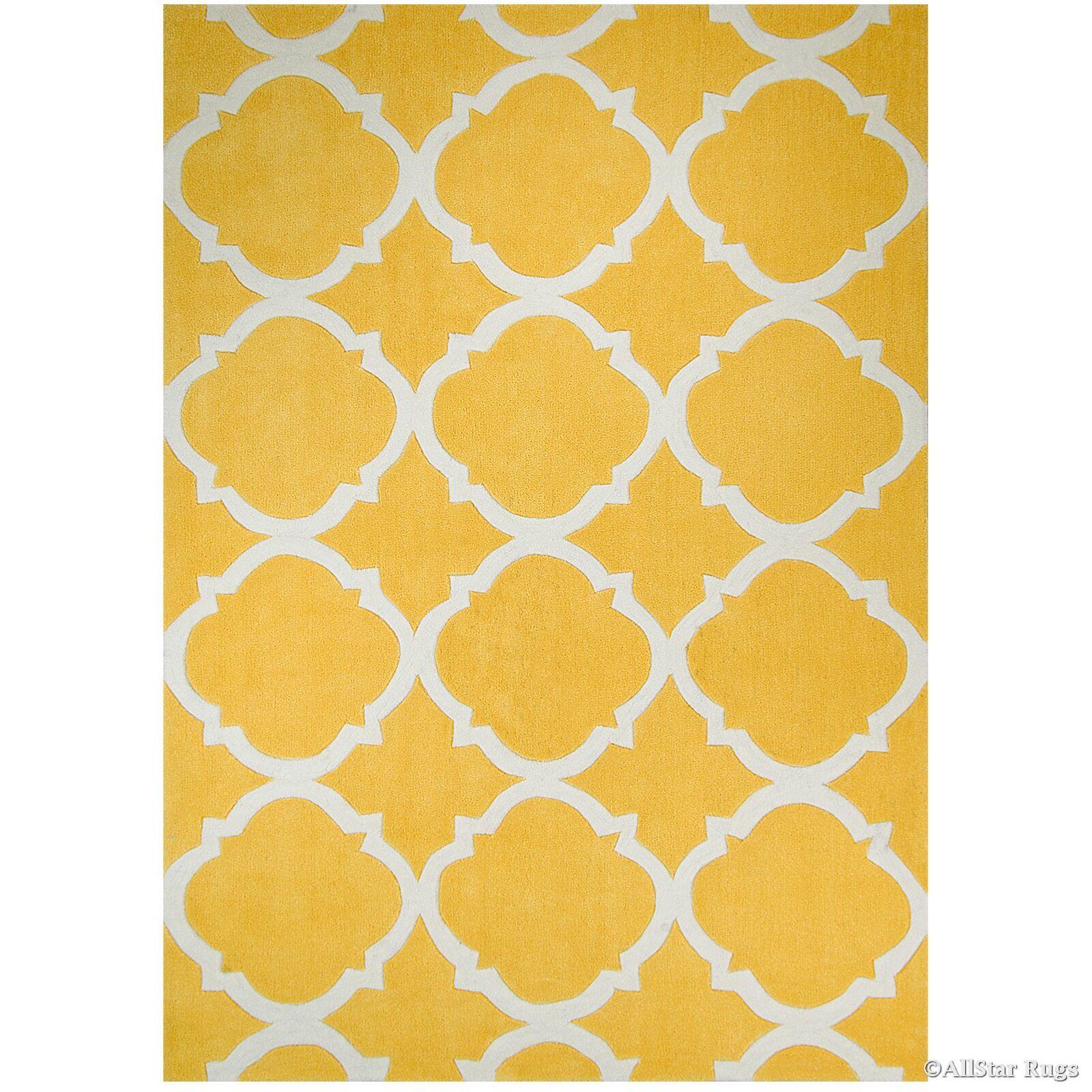 Handmade Yellow Area Rug Rug Size: 4'11