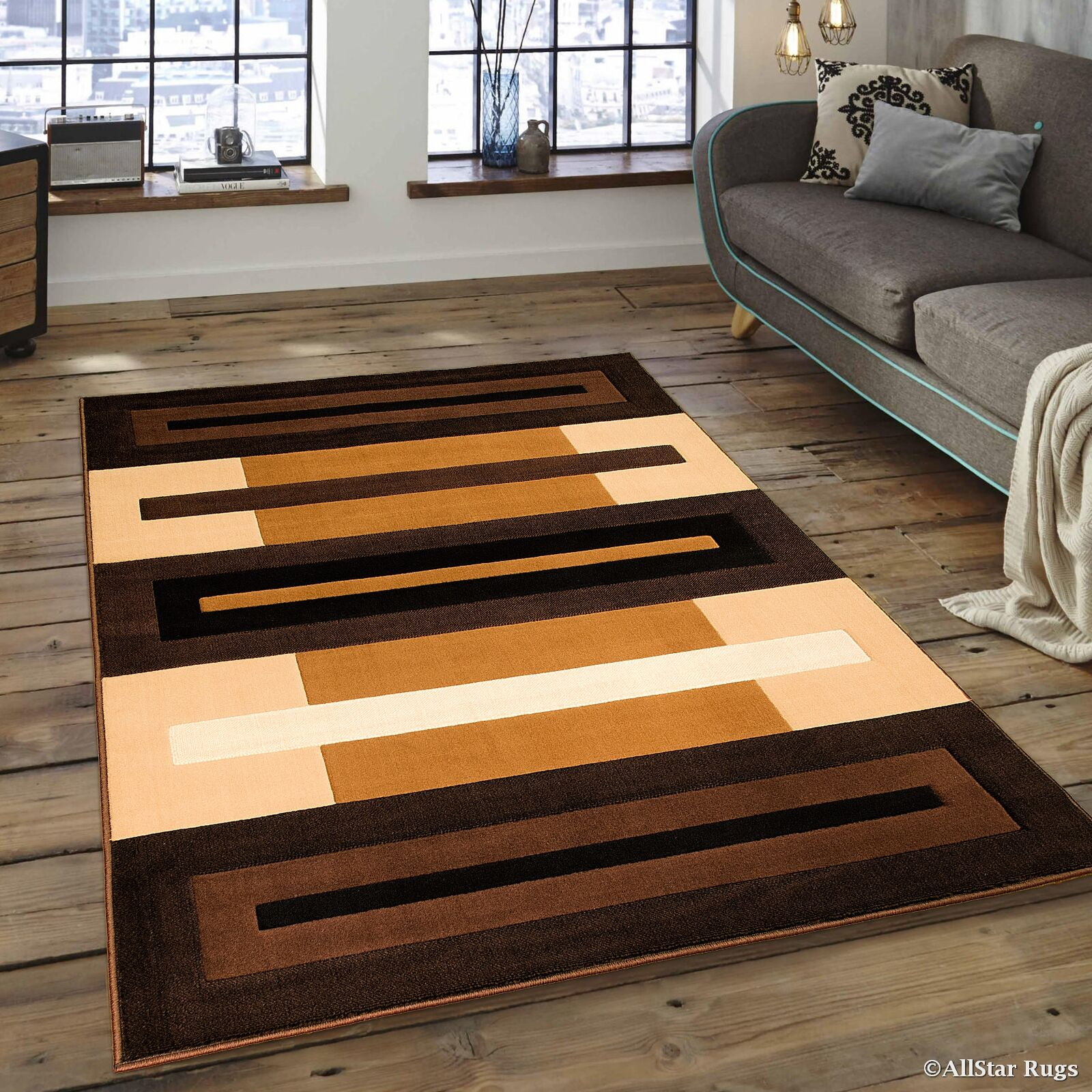 Busick Modern and Contemporary Color Block Bordered Designed Brown Area Rug Rug Size: 7'10