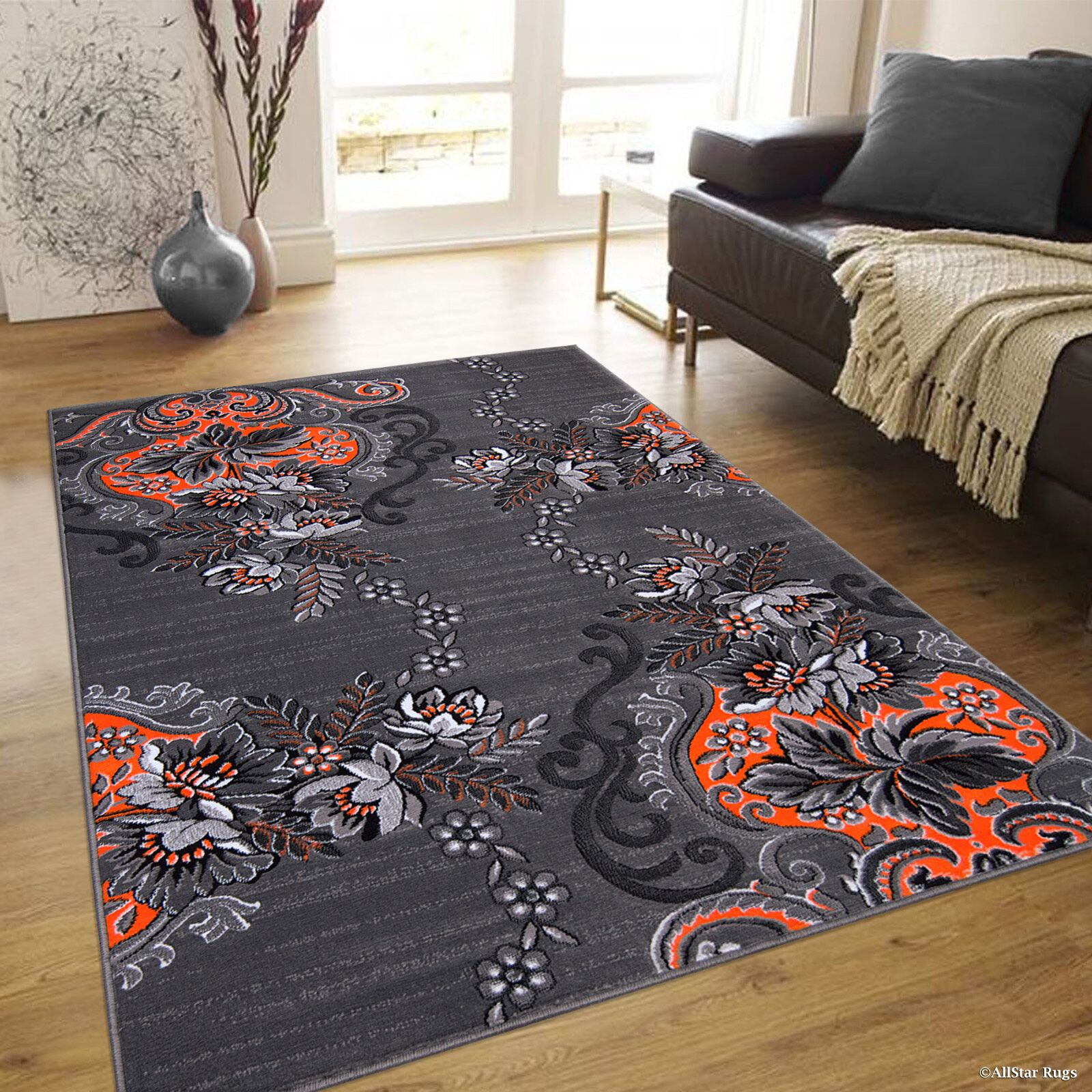 Nichols  Distressed Orange Area Rug Rug Size: 7'10