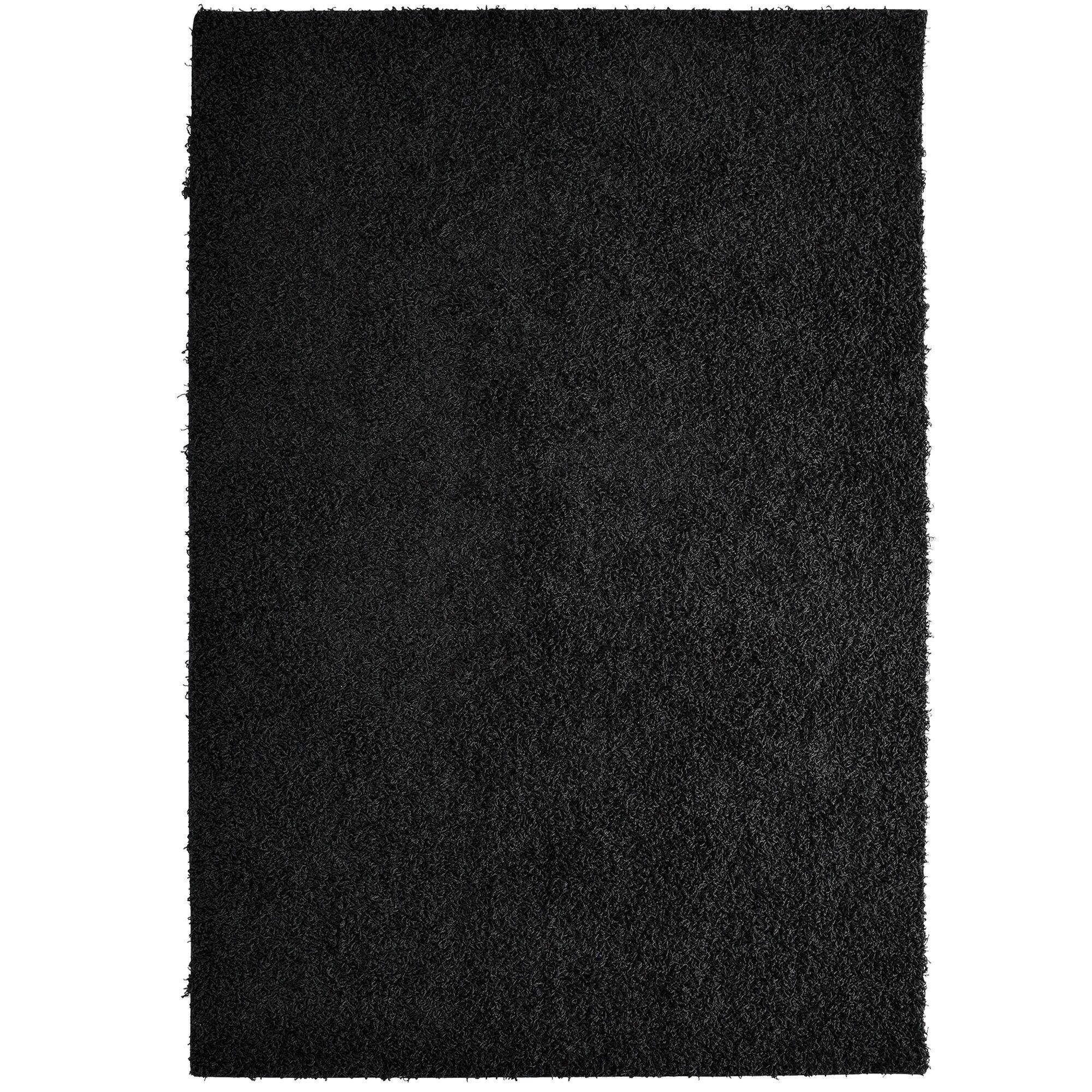 Shag-Ola Black Area Rug Rug Size: 8' x 10'