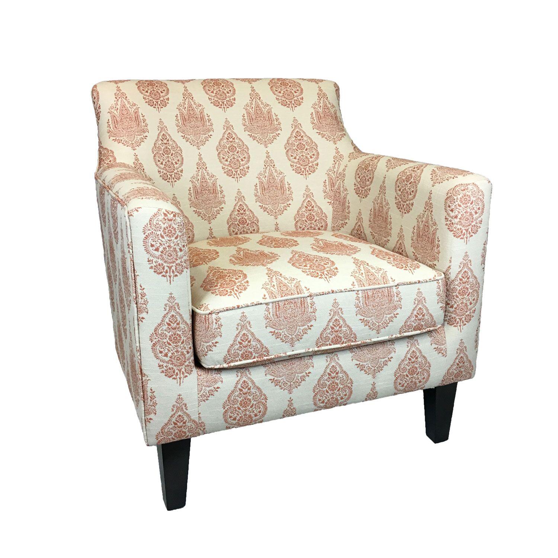 Fellows Armchair Upholstery: Cream/Burgundy Motifs