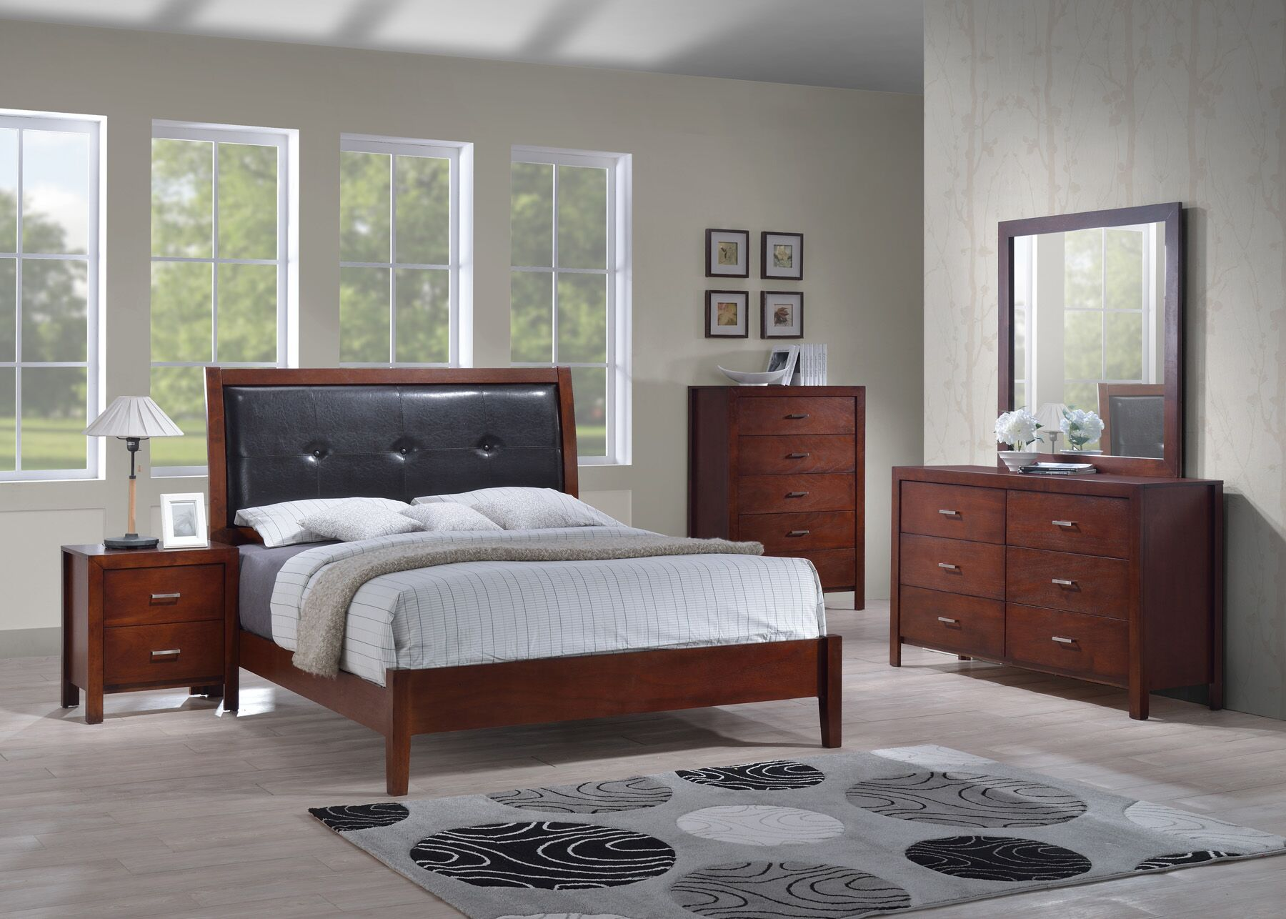 Upholstered Panel Bed Size: Queen, Color: Cherry