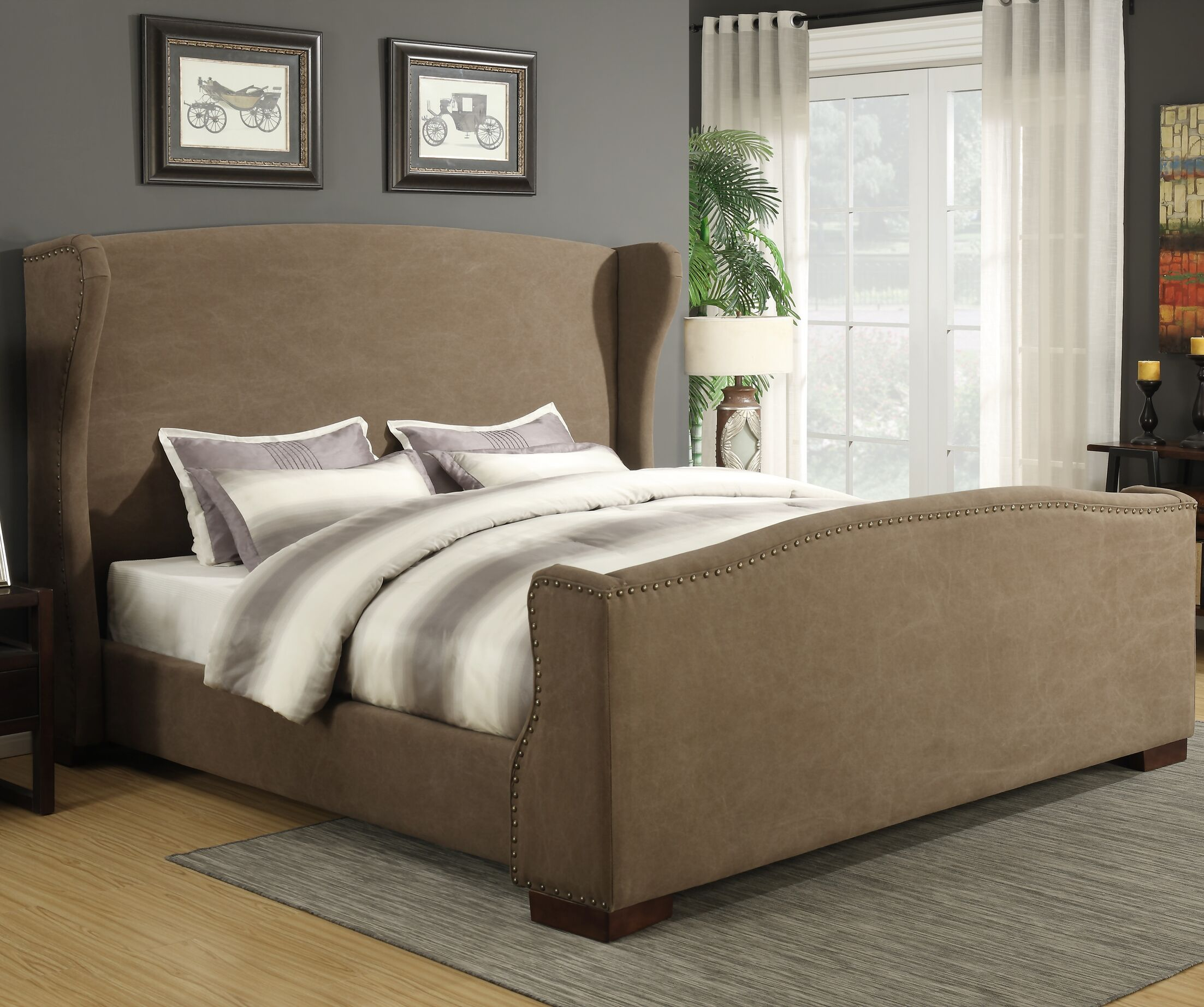 Wingback Upholstered Panel Bed Size: California King