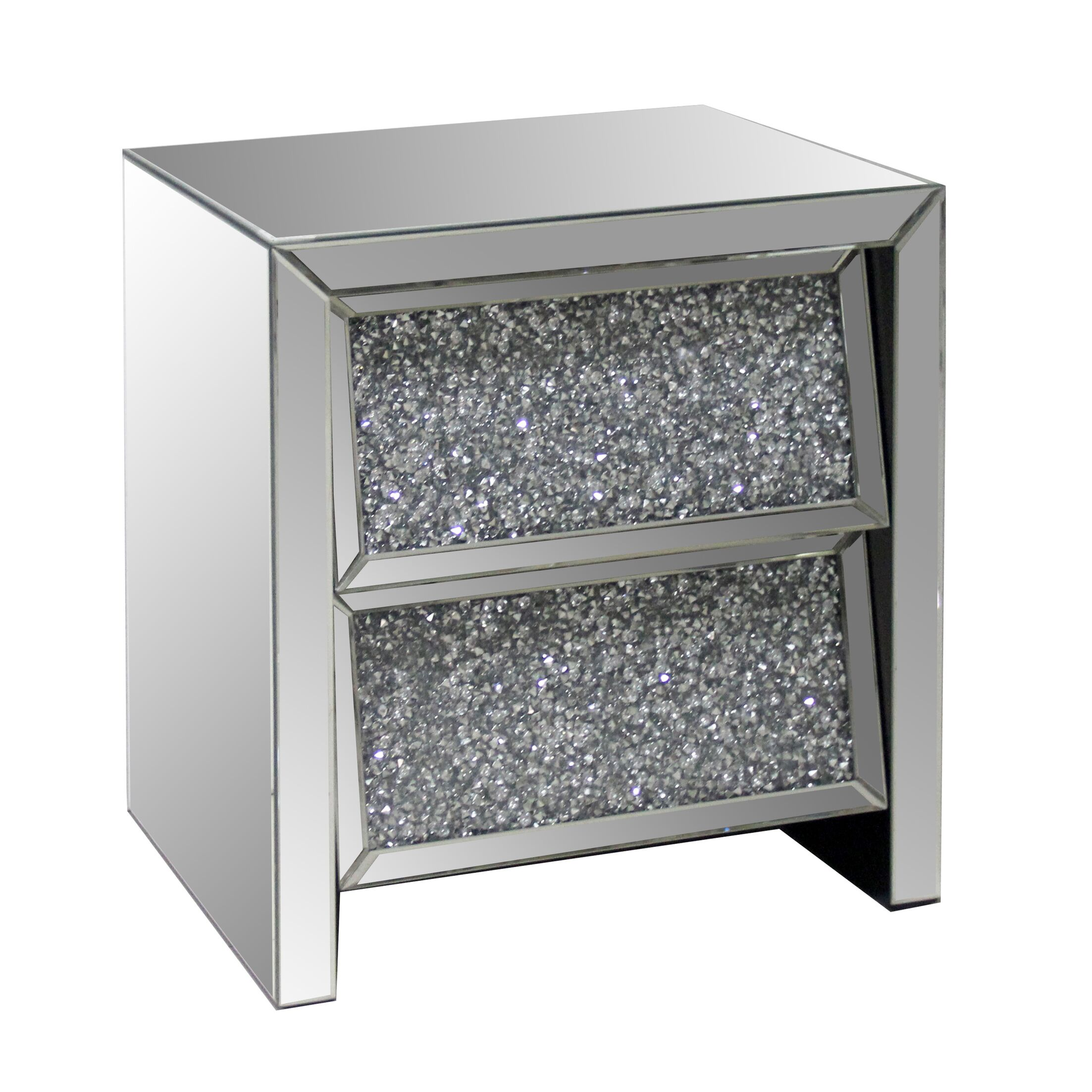 2 Drawer Crystal Mirror End Table
