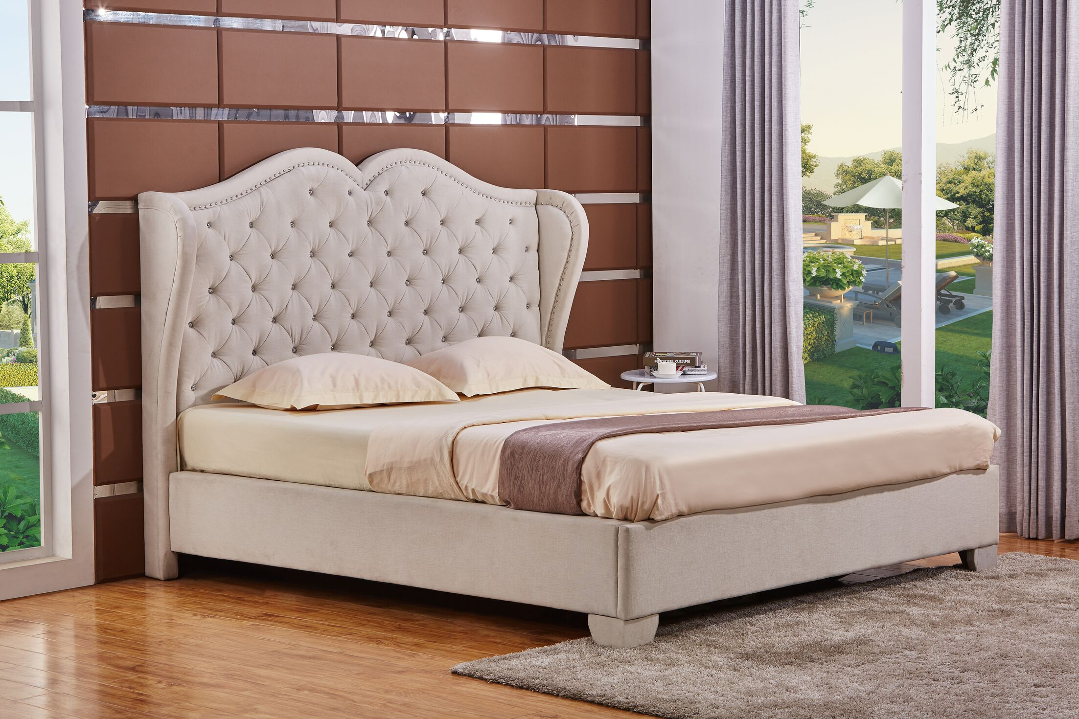 Upholstered Panel Bed Size: King, Color: White