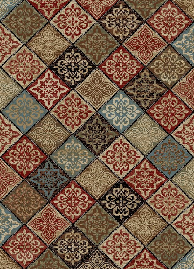 Henrietta Mosaic Red/Brown Area Rug Rug Size: Rectangle 5'3