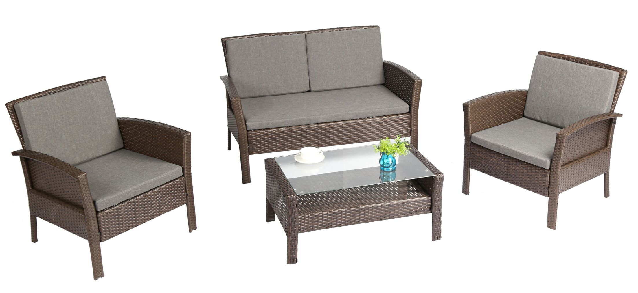 Spiaggia 4 Piece Sofa Set with Cushions Color: Brown