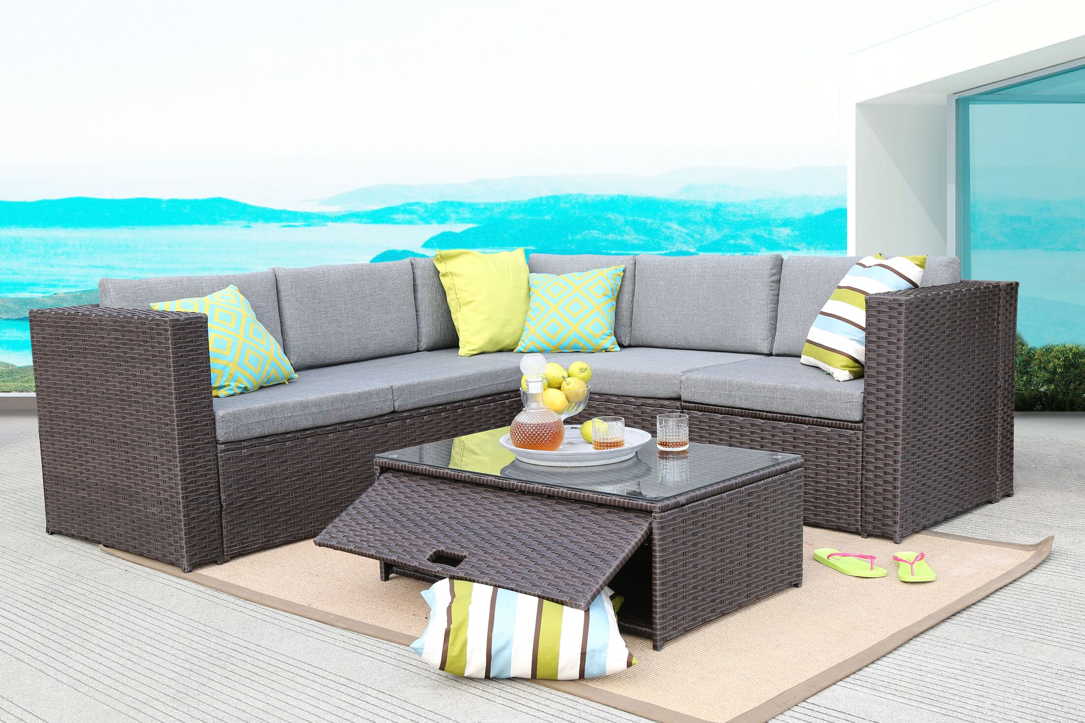 4 Piece Rattan Sectional Set with Cushions Frame Color: Chocolate