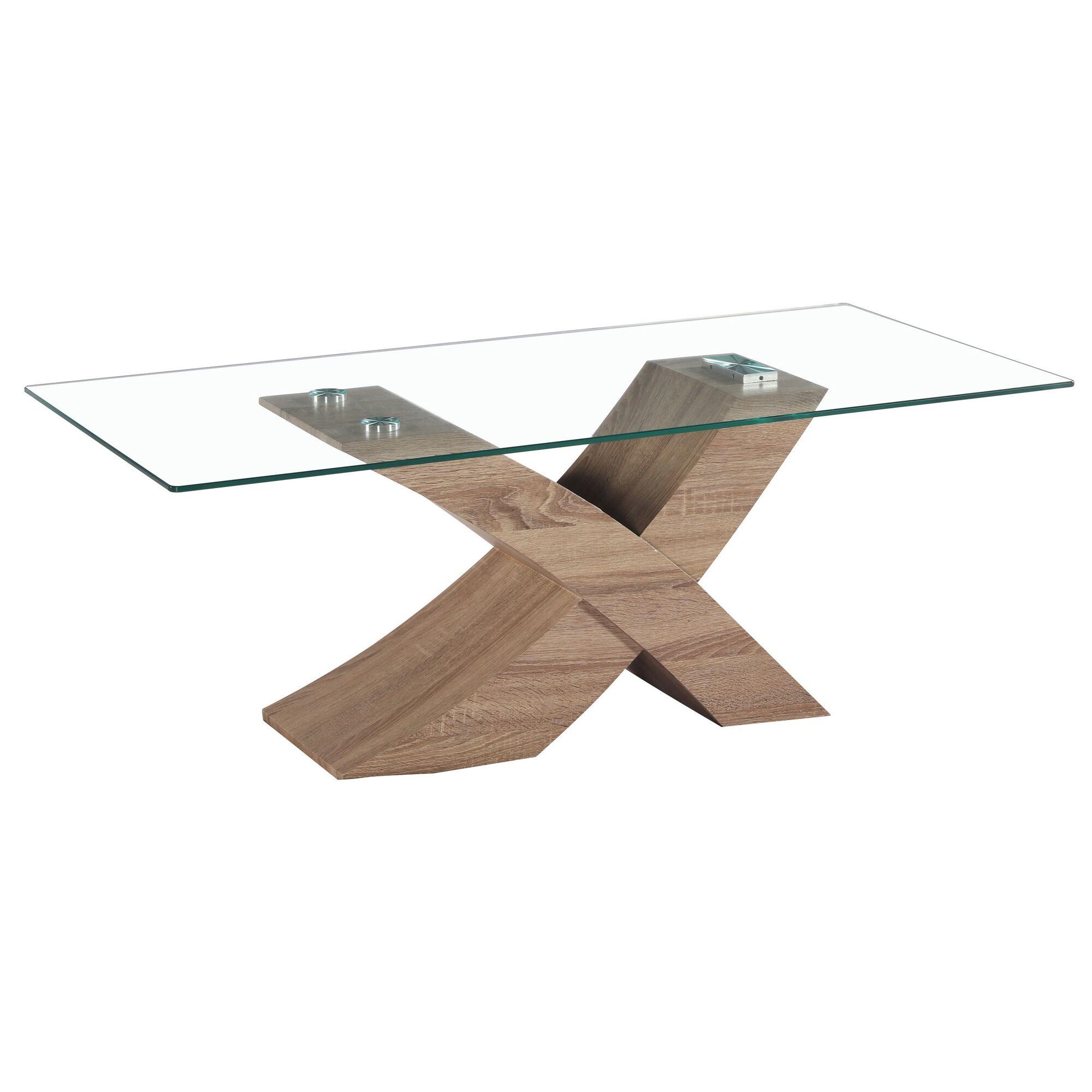Venice X Modern Glass Coffee Table Base Color: Oak