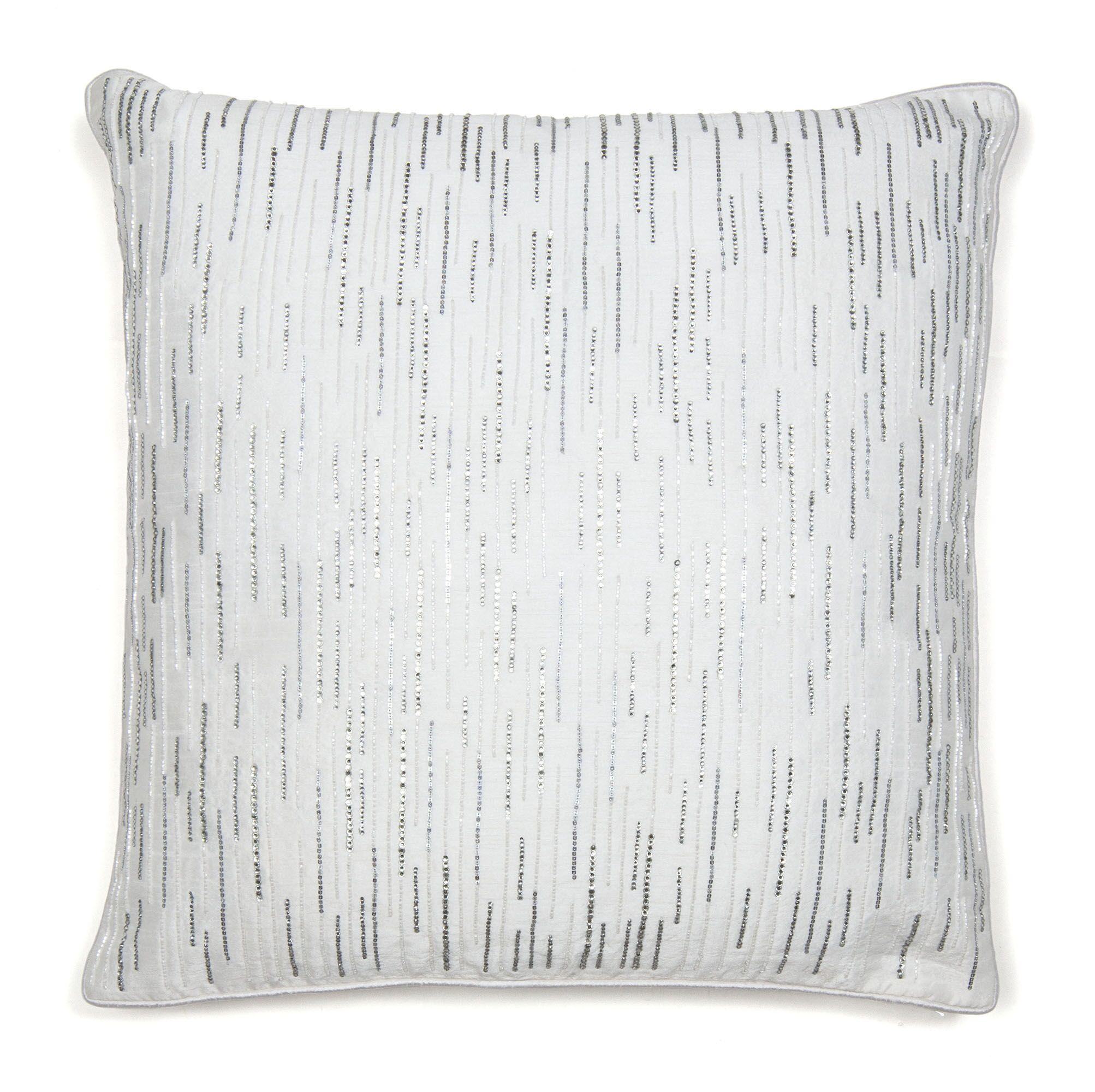 Diamond Drizzle Throw Pillow Color: White