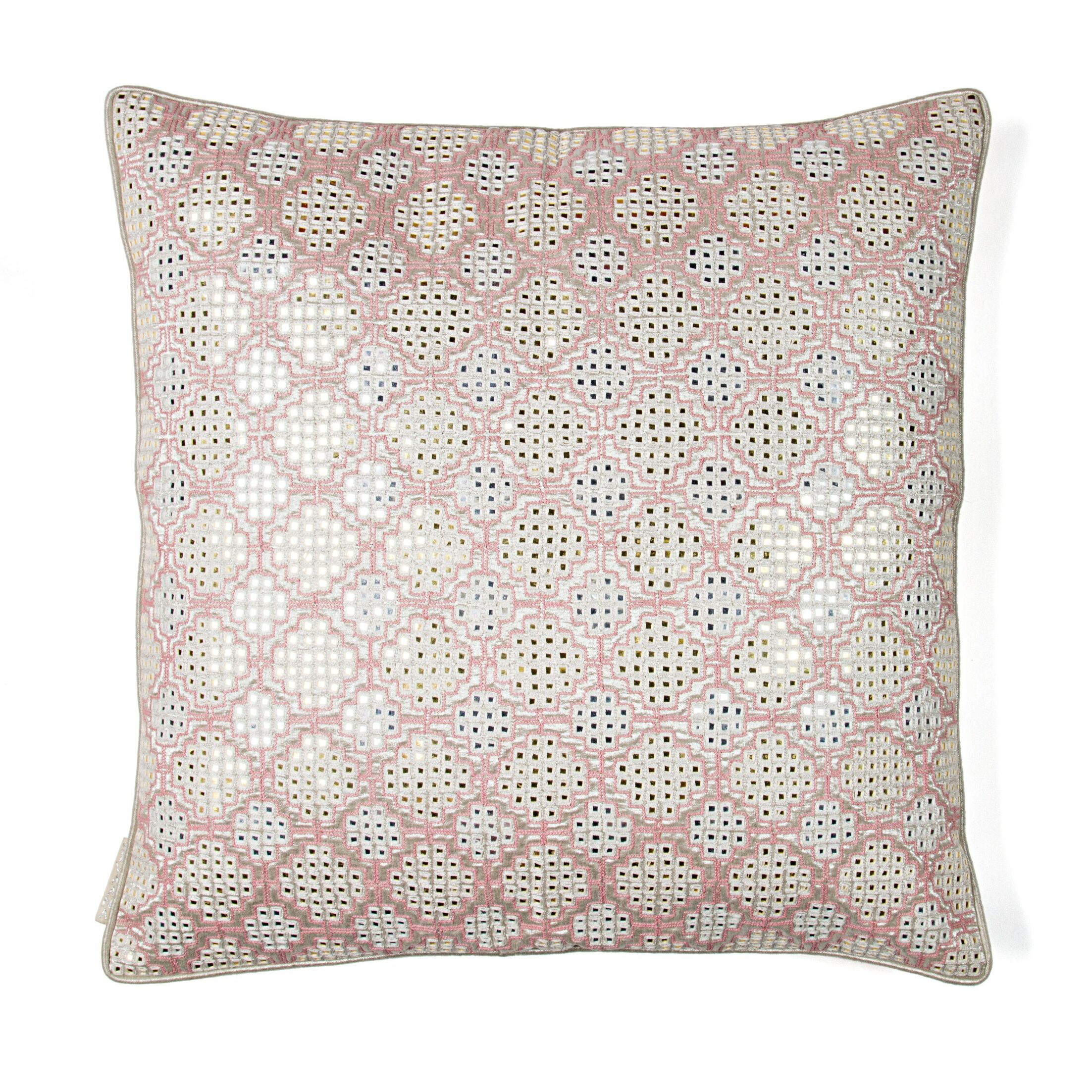 Shimmer Embroidery Silk Throw Pillow Color: Pink