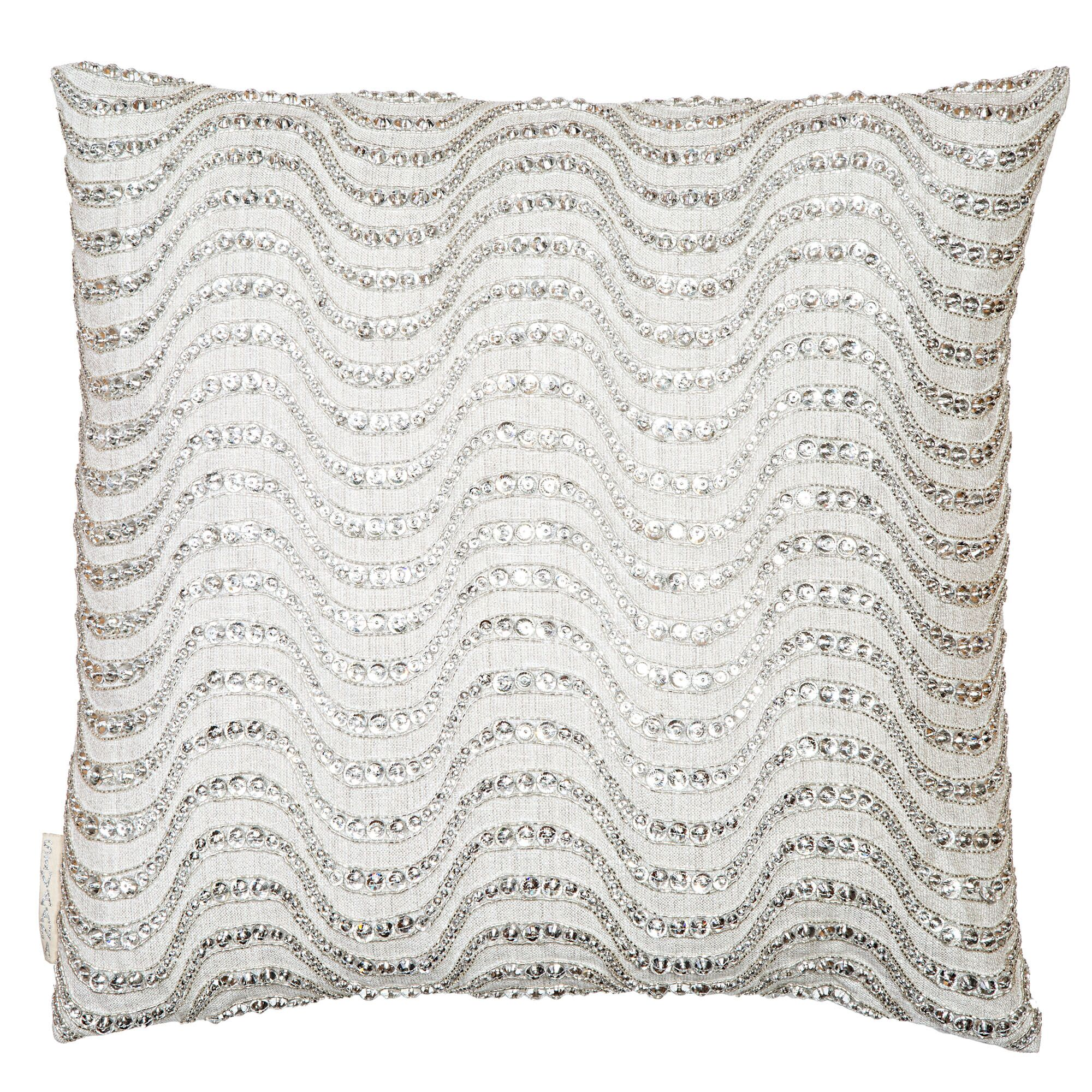 Sequin Stones Embroidered in Waves Throw Pillow Color: Jute