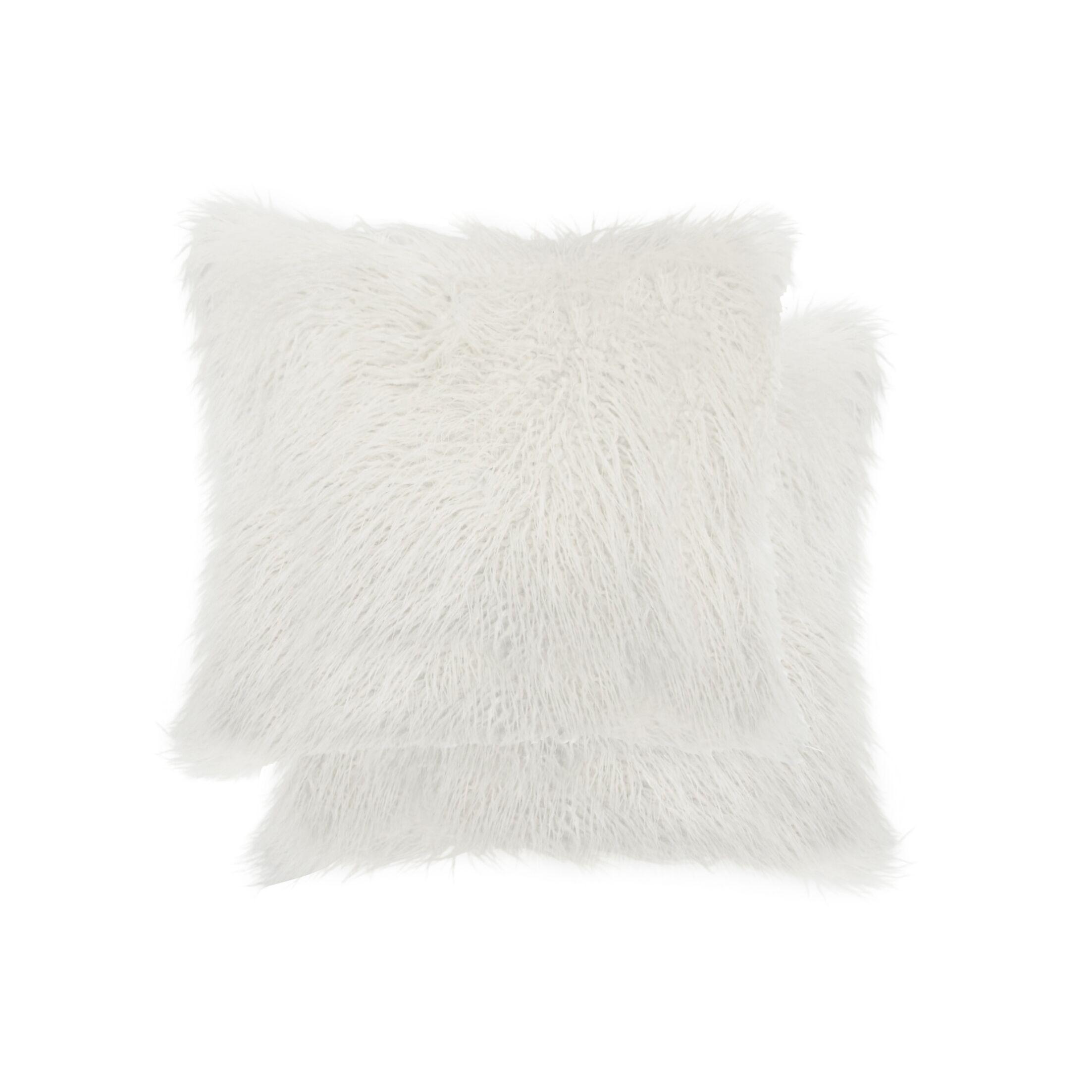 Frisco Faux Fur Throw Pillow Color: Stone White