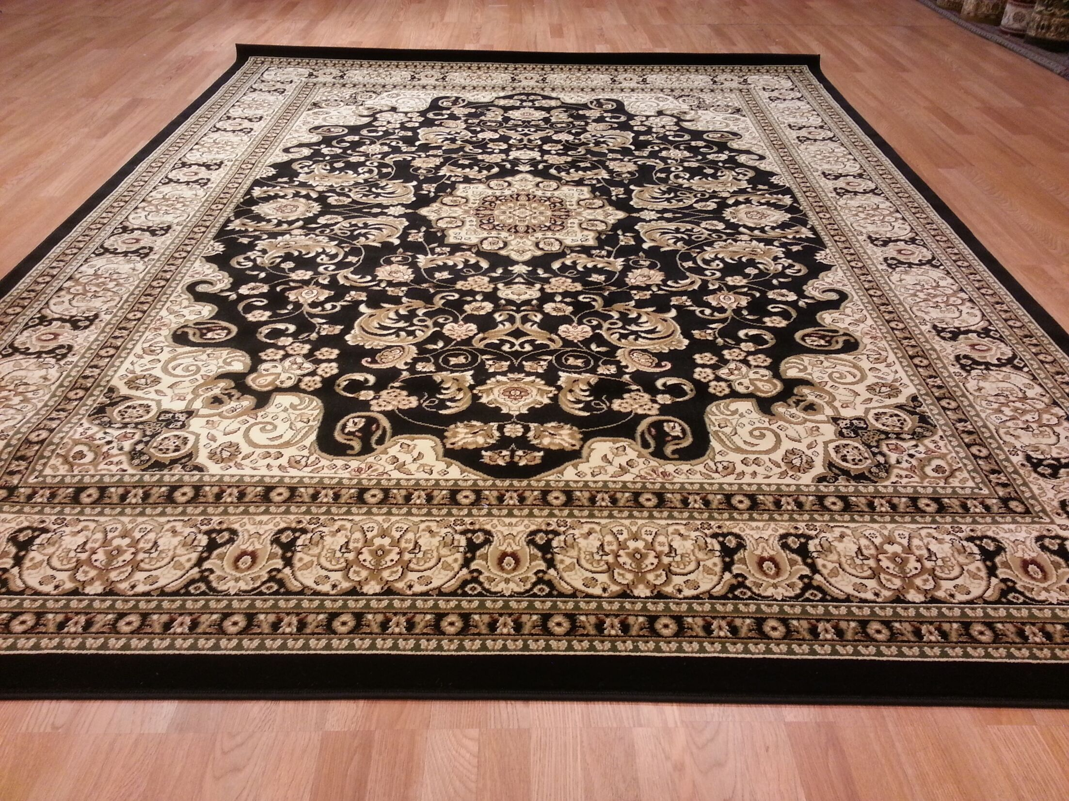 Black/Beige Area Rug Rug Size: Rectangle 10' x 13'
