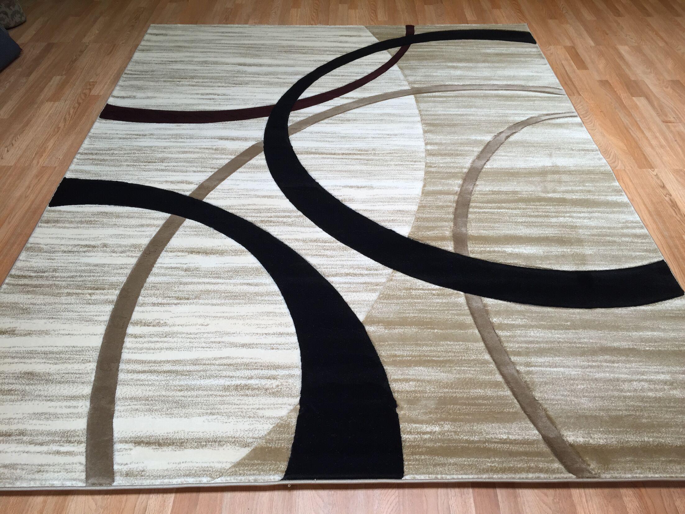 Biege/Black Area Rug Rug Size: Runner 2' x 7'2